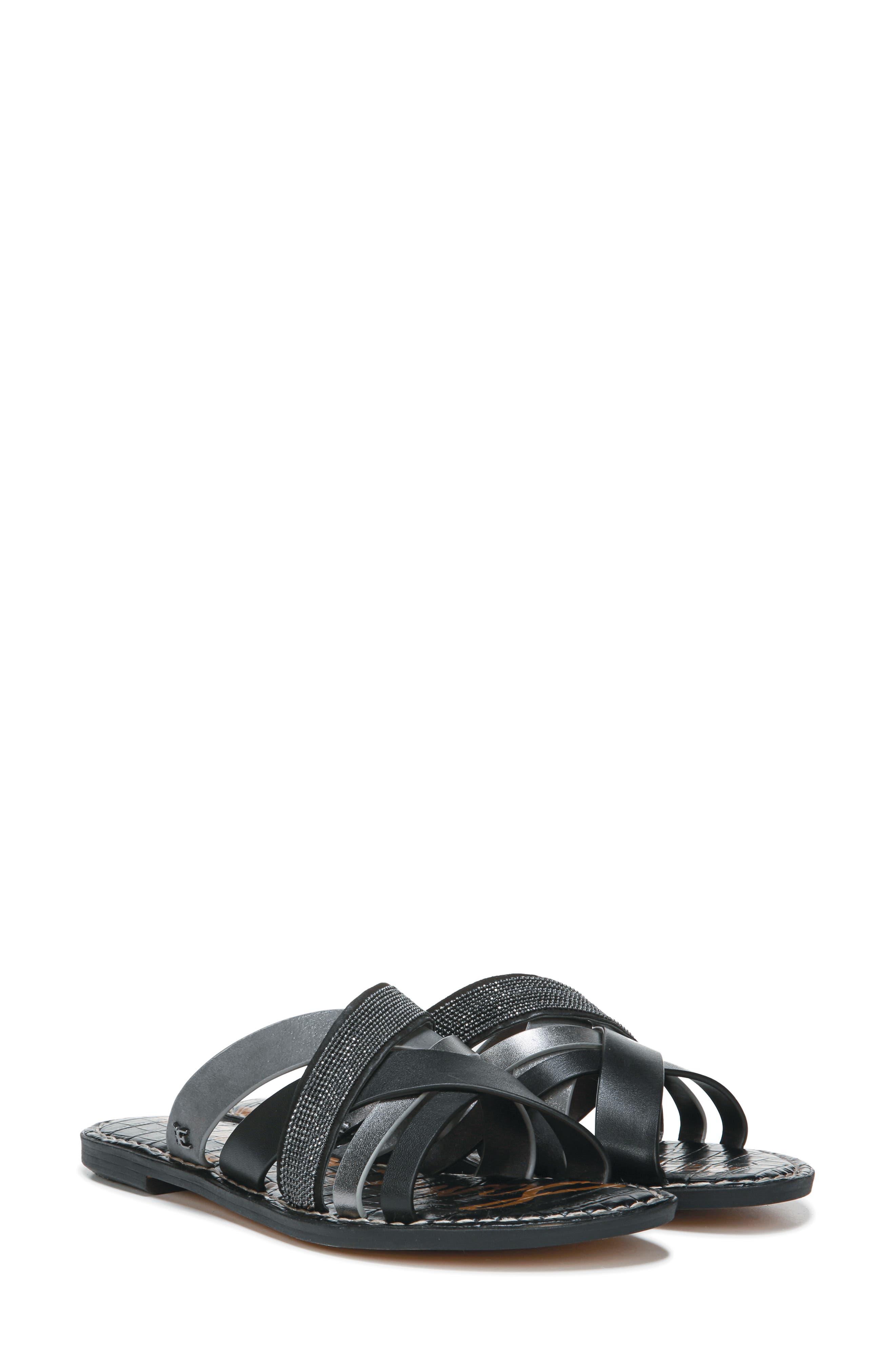Glennia Slide Sandal,                             Alternate thumbnail 9, color,                             DARK PEWTER/ BLACK LEATHER