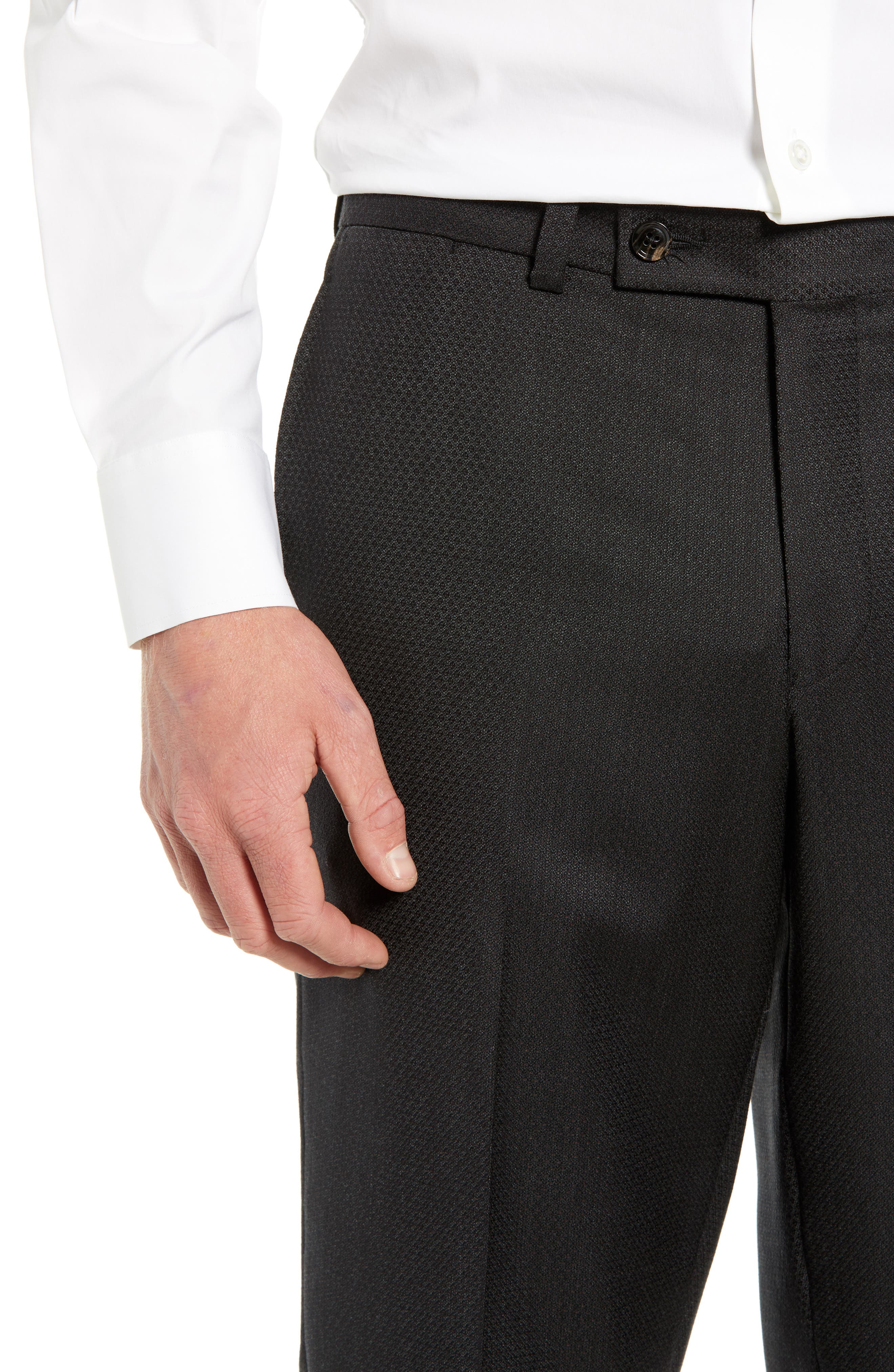 Jefferson Flat Front Solid Wool Trousers,                             Alternate thumbnail 4, color,                             GREY