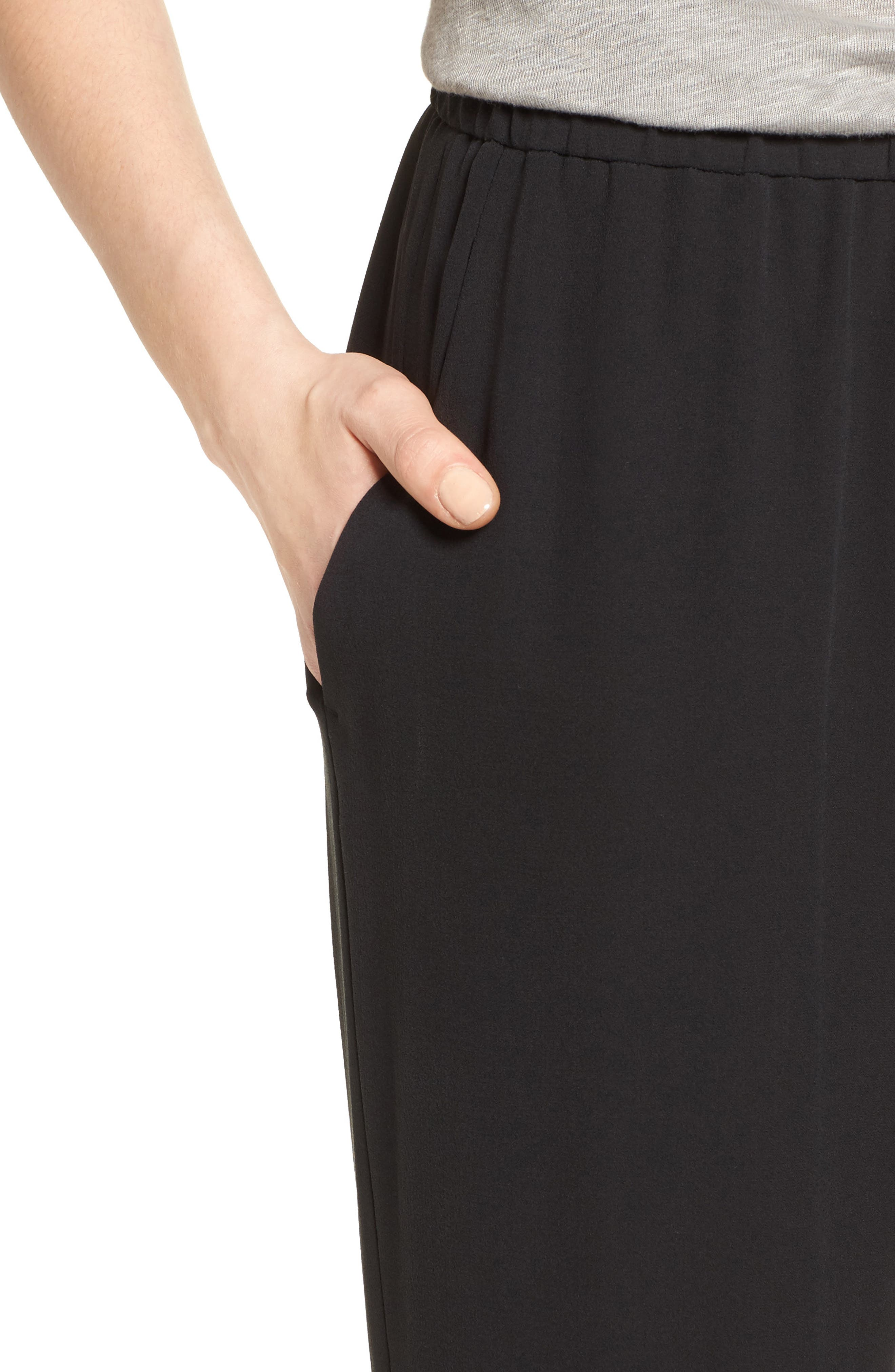 EILEEN FISHER,                             Silk Crop Pants,                             Alternate thumbnail 4, color,                             BLACK
