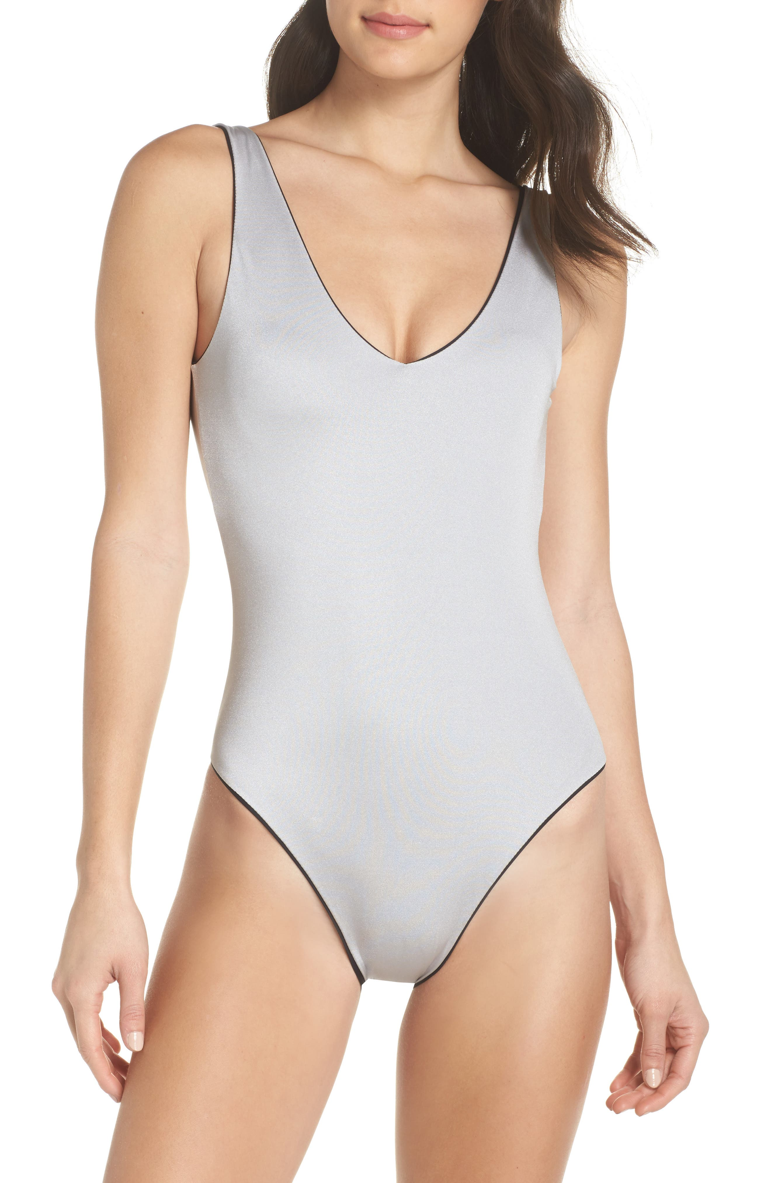 Plunge Reversible One-Piece Swimsuit,                             Alternate thumbnail 2, color,                             BLACK/ SILVER
