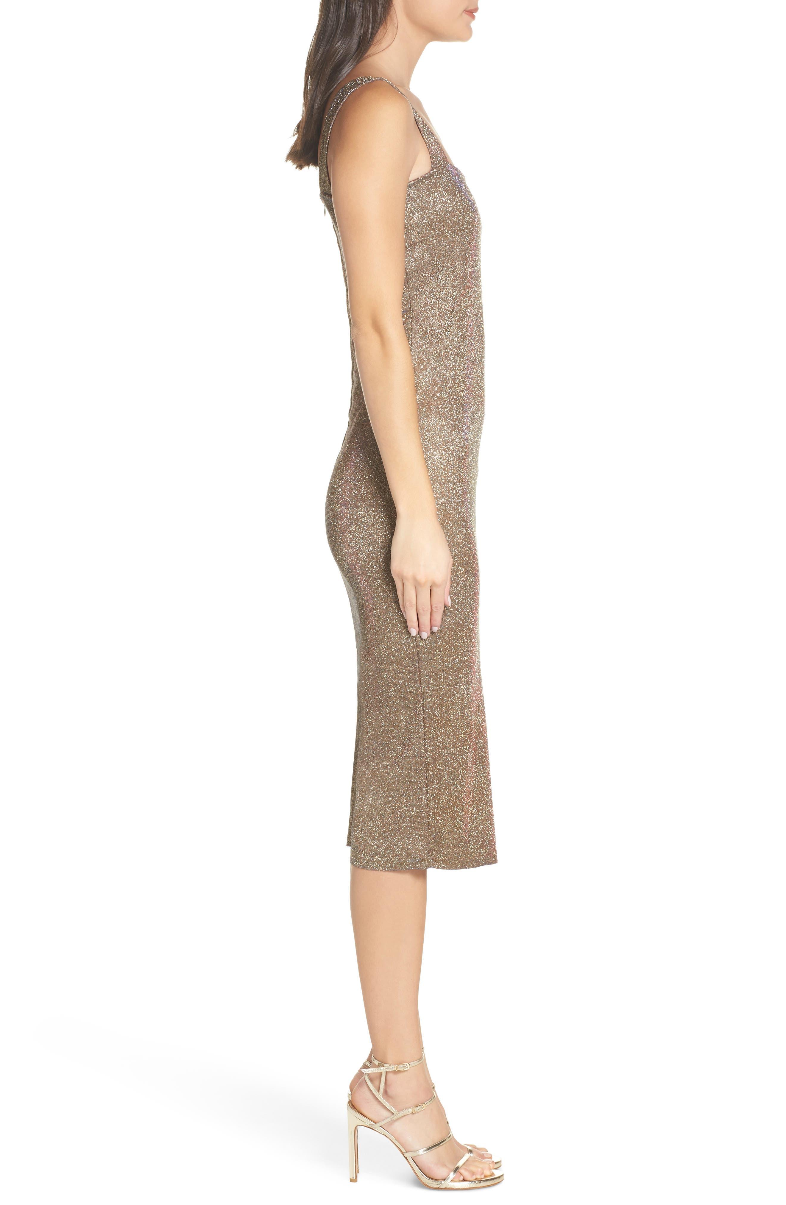 Mimi Sparkle Dress,                             Alternate thumbnail 3, color,                             GOLD