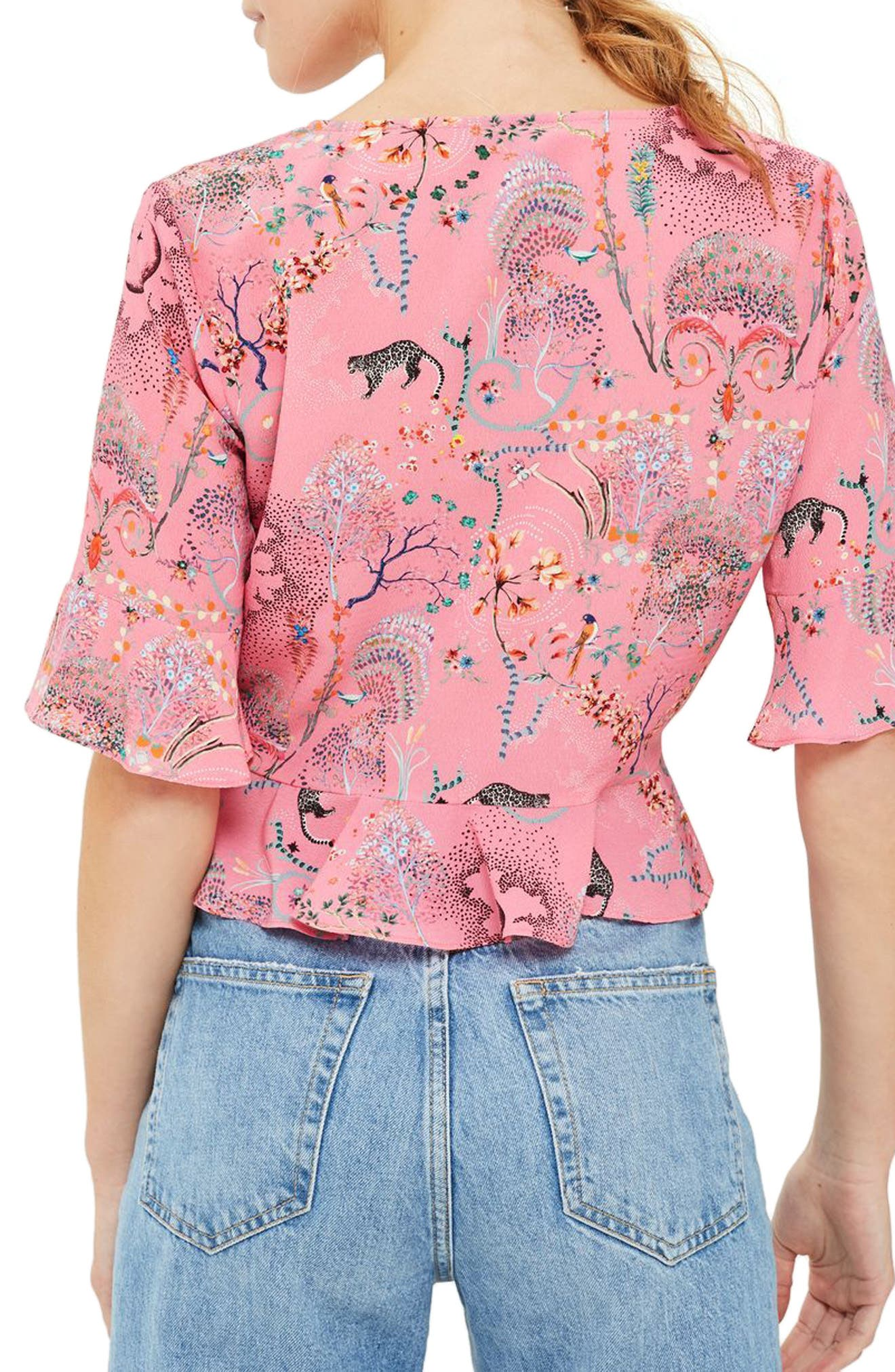 Ruby Magical Leopard Ruched Blouse,                             Alternate thumbnail 3, color,