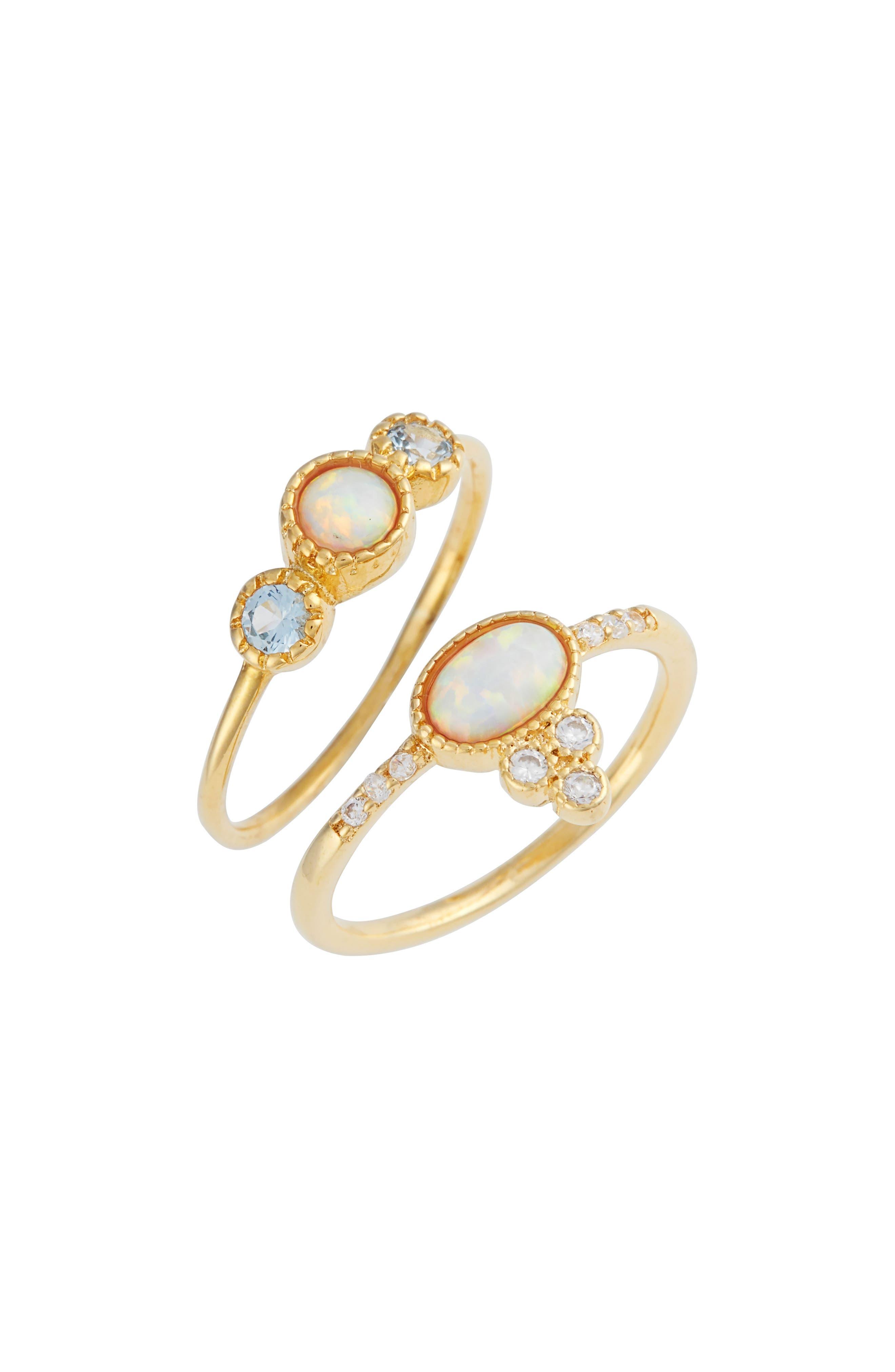 Fabiana Set of 2 Fire Opal & Crystal Rings,                         Main,                         color,