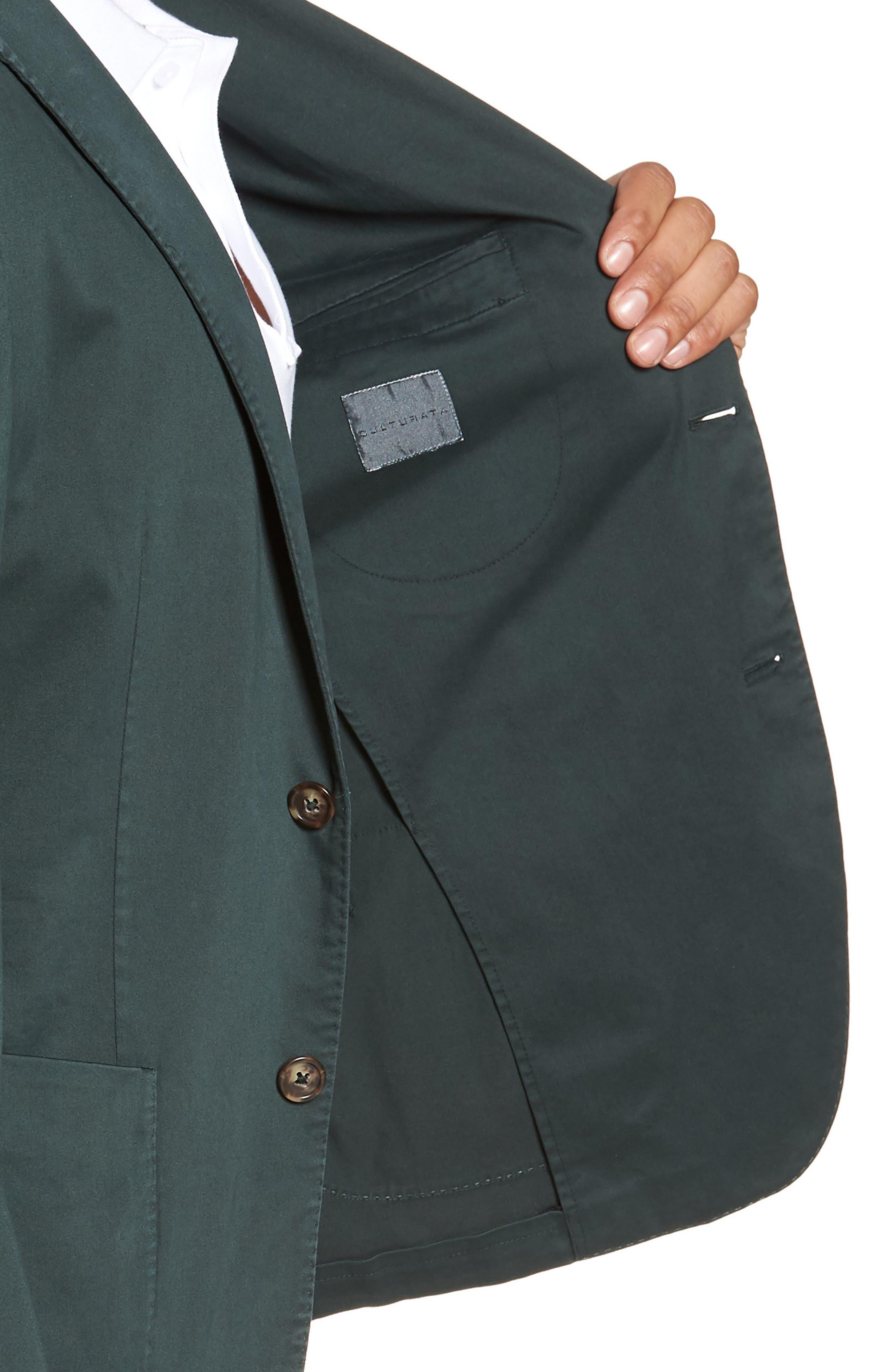 Trim Fit Stretch Cotton Blazer,                             Alternate thumbnail 4, color,                             GREEN