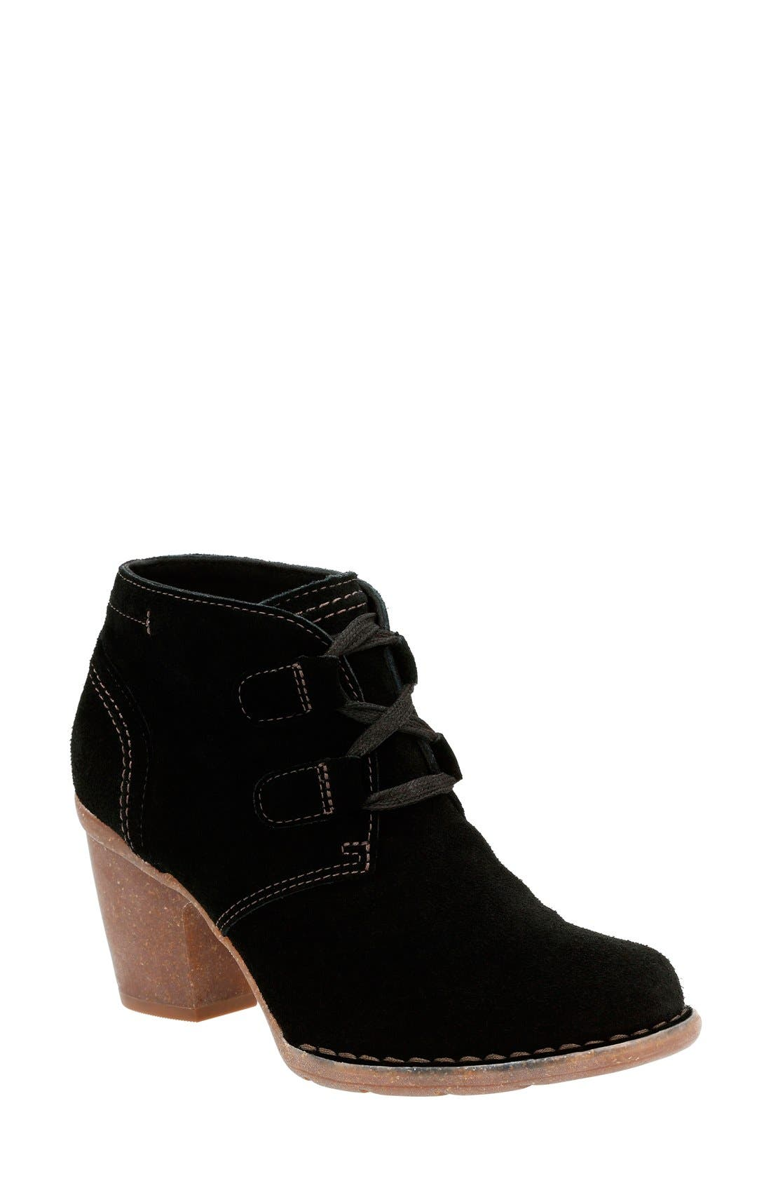 'Carleta Lyon' Ankle Boot,                             Main thumbnail 1, color,                             BLACK SUEDE