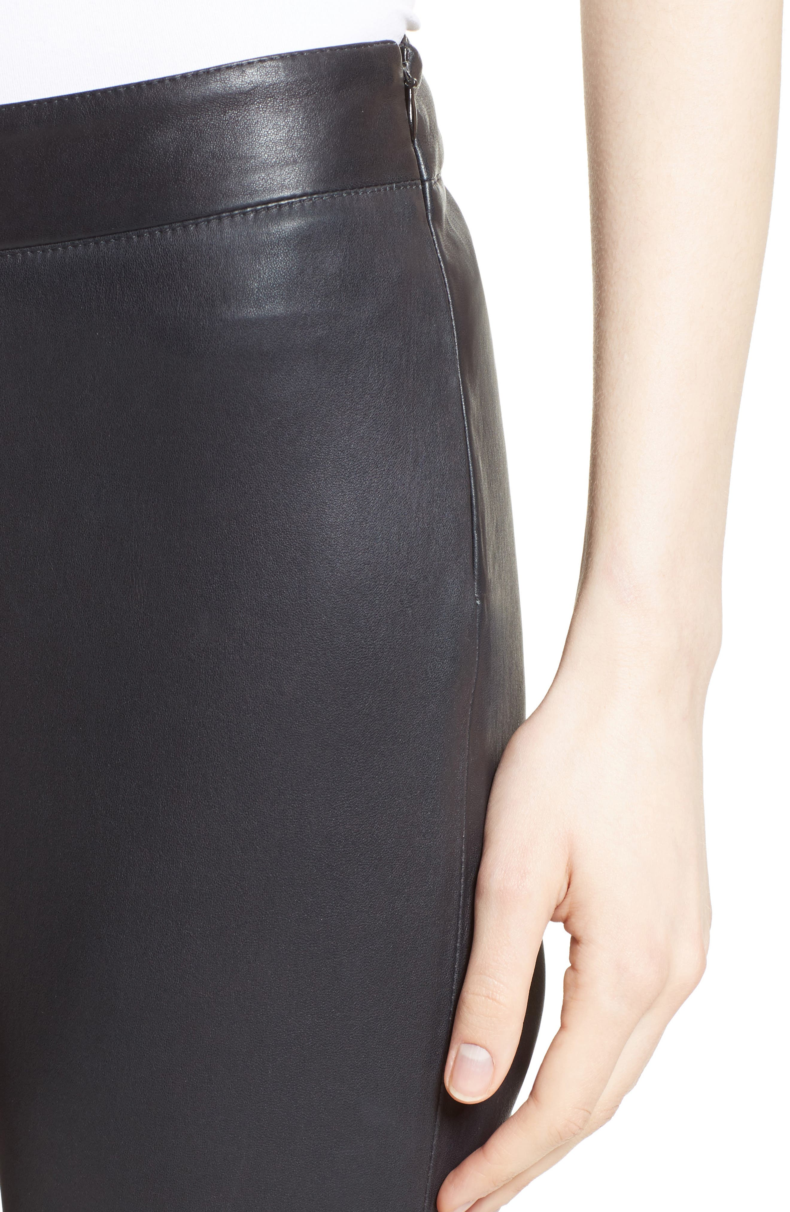 Side Zip Stretch Leather Leggings,                             Alternate thumbnail 4, color,                             001