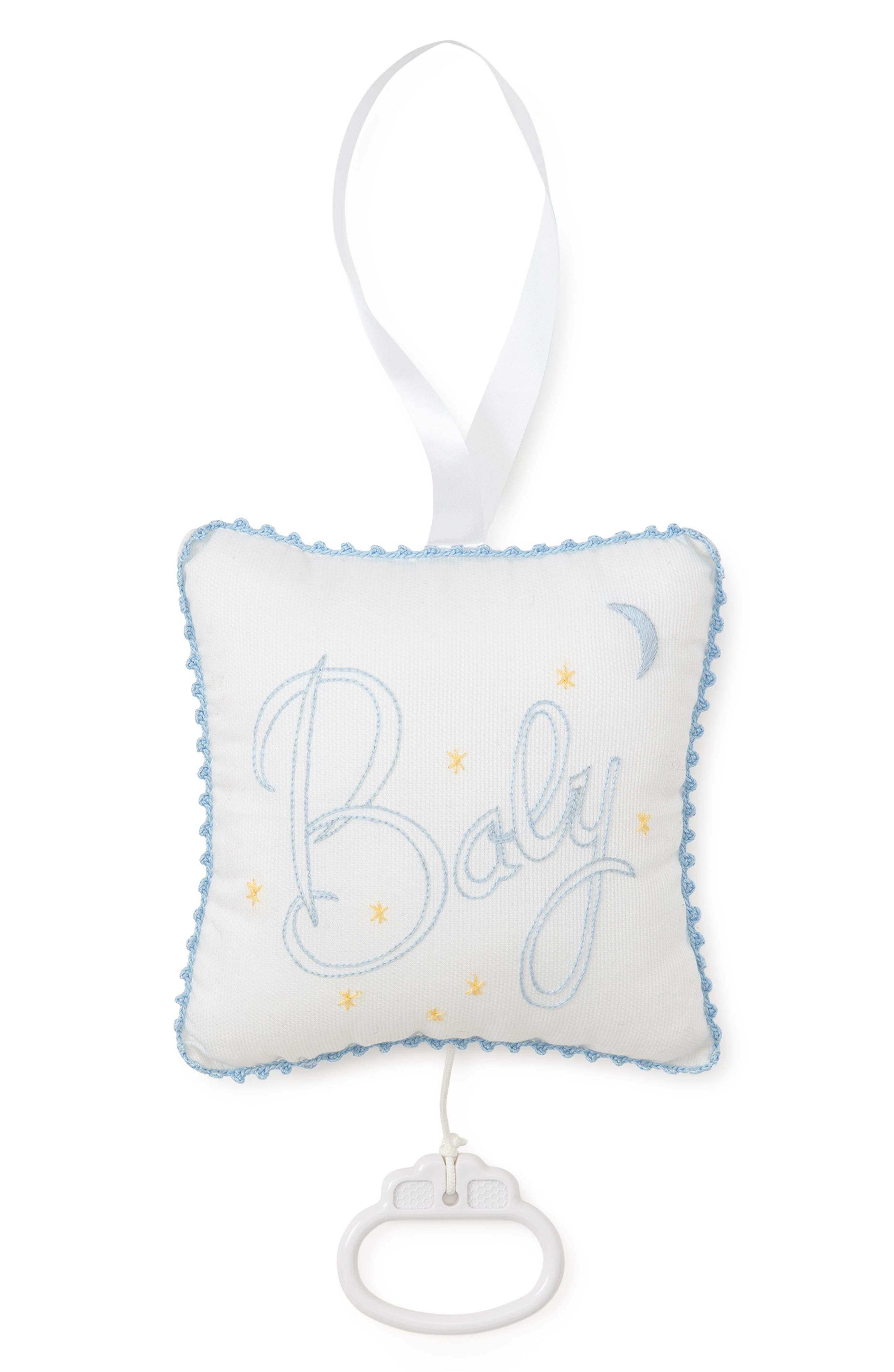 Embroidered Musical Pillow, Main, color, WHITE