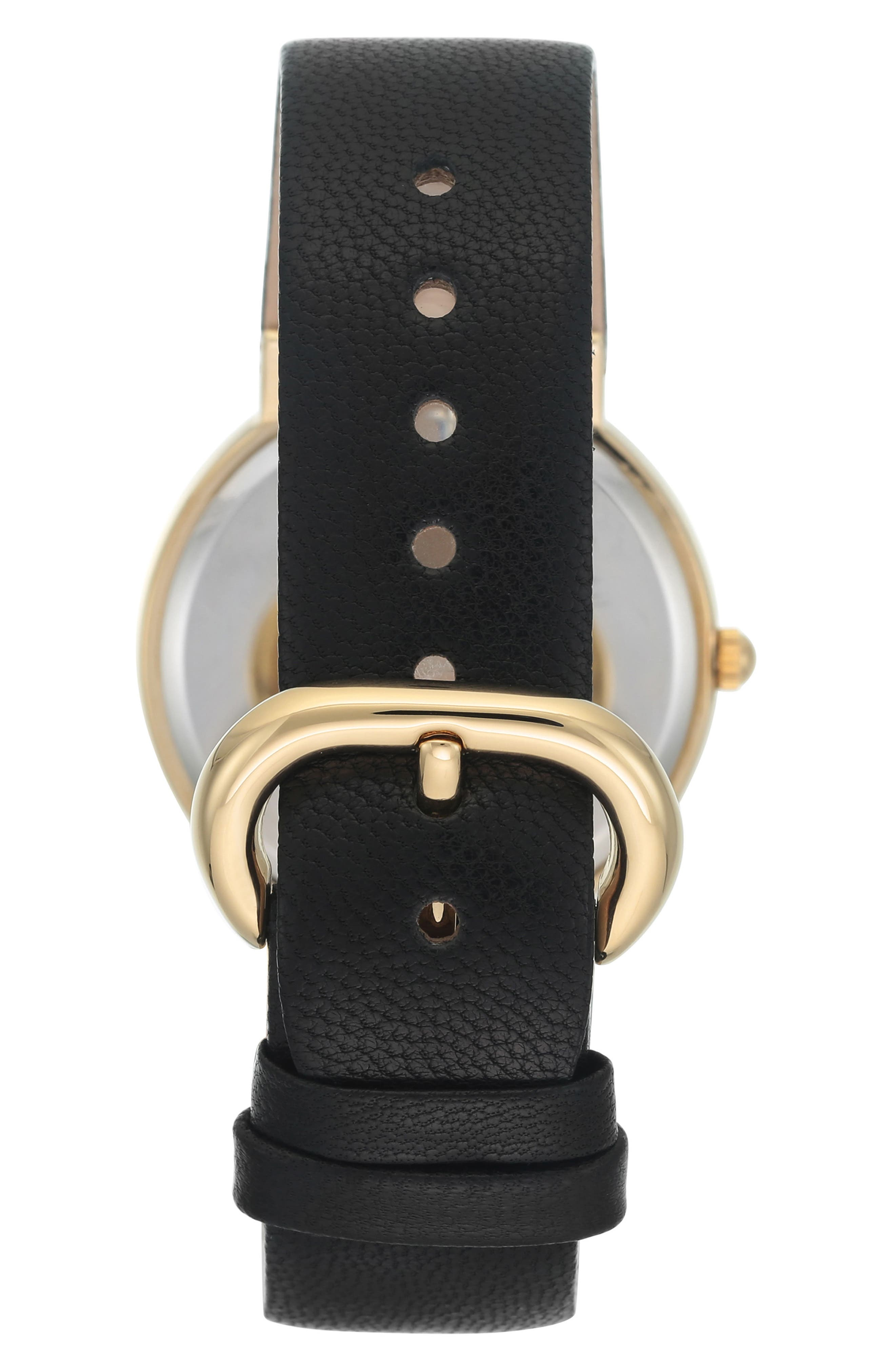 Round Leather Strap Watch, 36mm,                             Alternate thumbnail 2, color,                             002