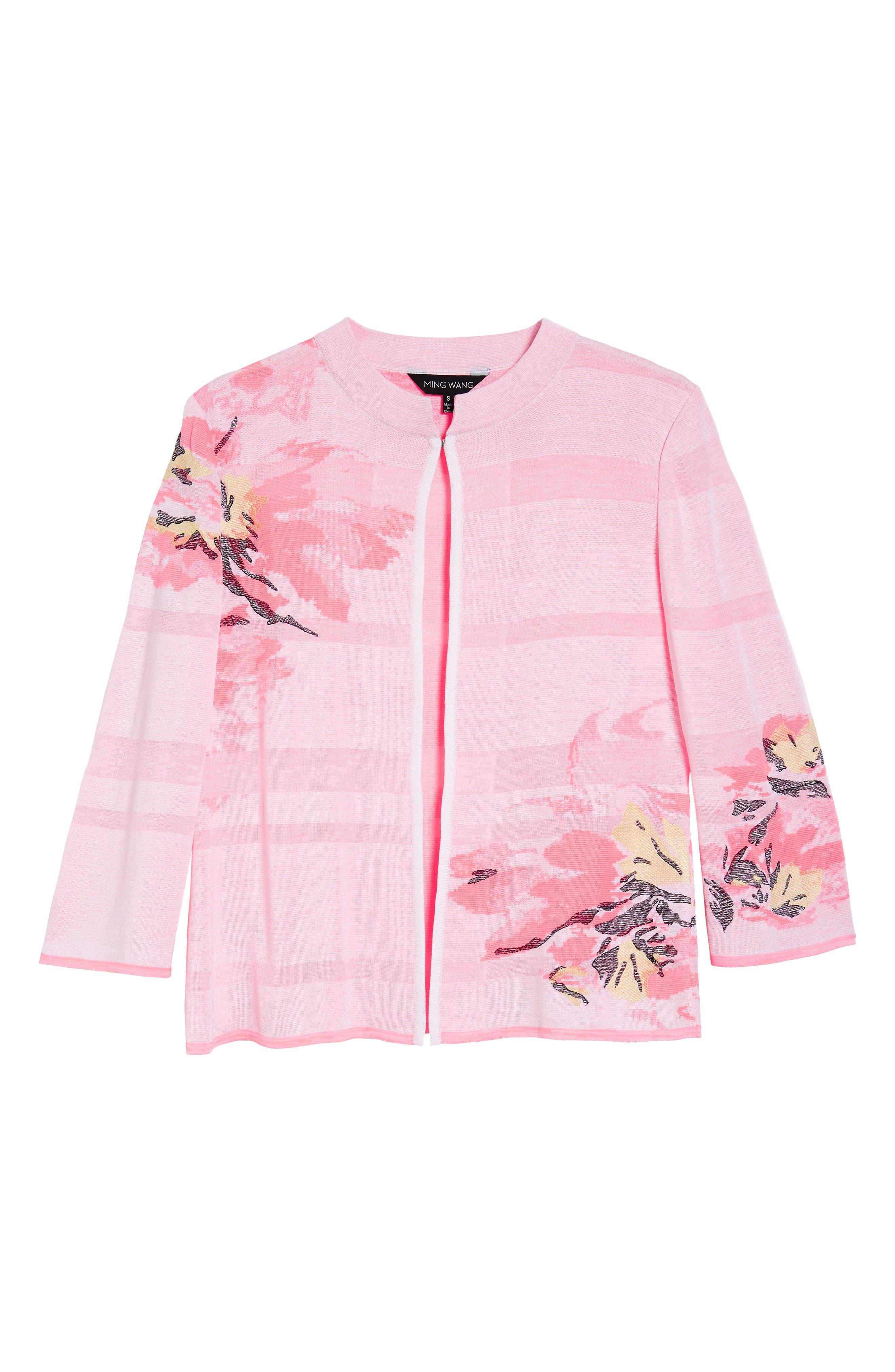 Floral Knit Jacket,                             Alternate thumbnail 5, color,                             MULTI