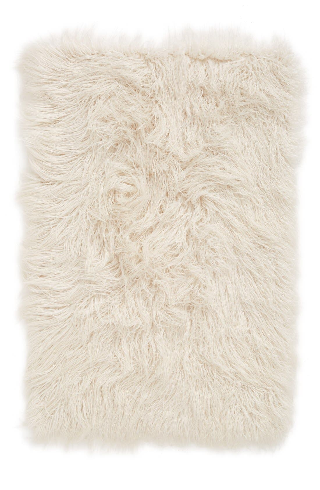 'Mongolian' Faux Fur Area Rug,                             Main thumbnail 1, color,                             900