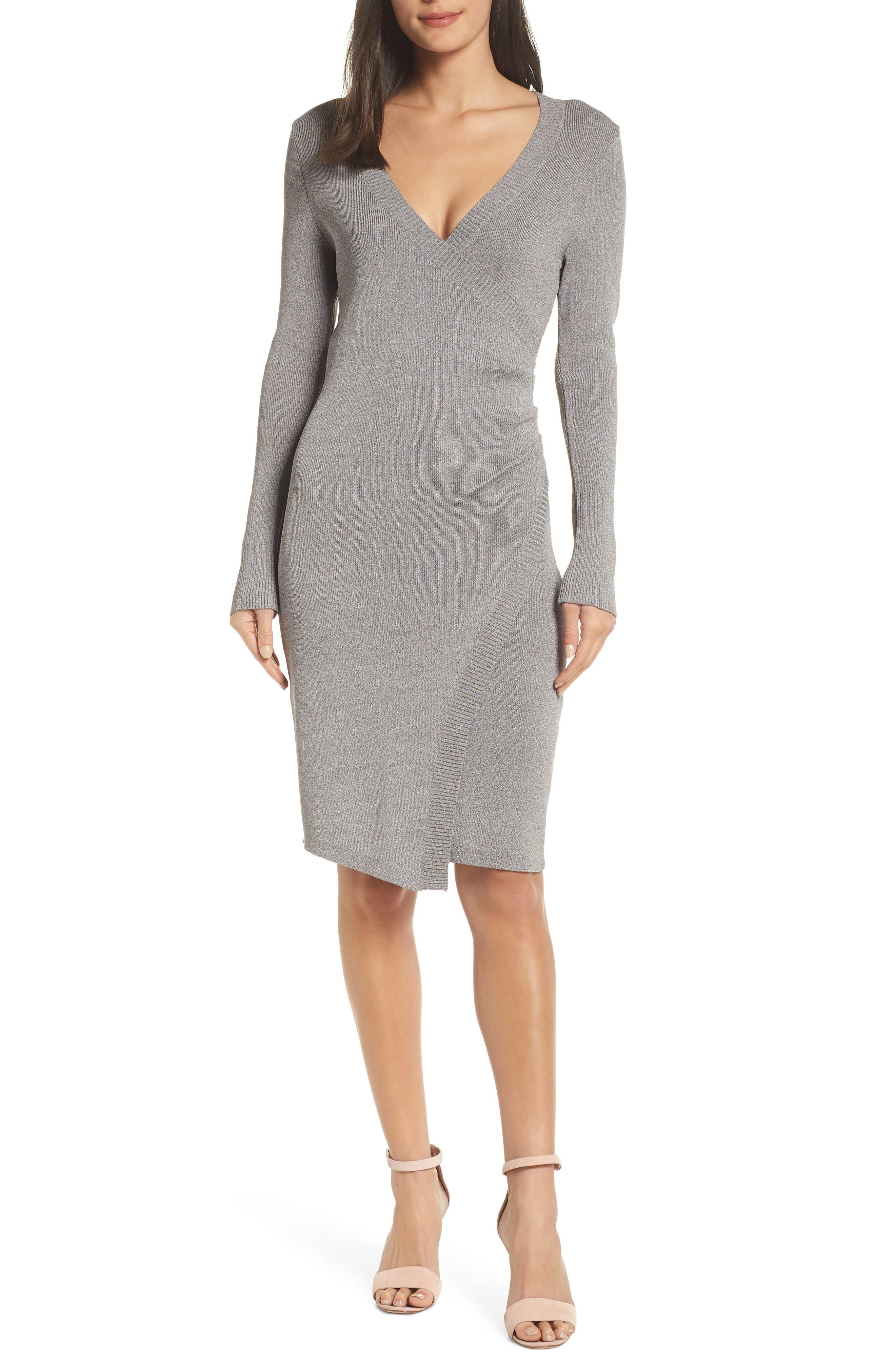 ADELYN RAE Sharine Sweater Dress in Heather Grey