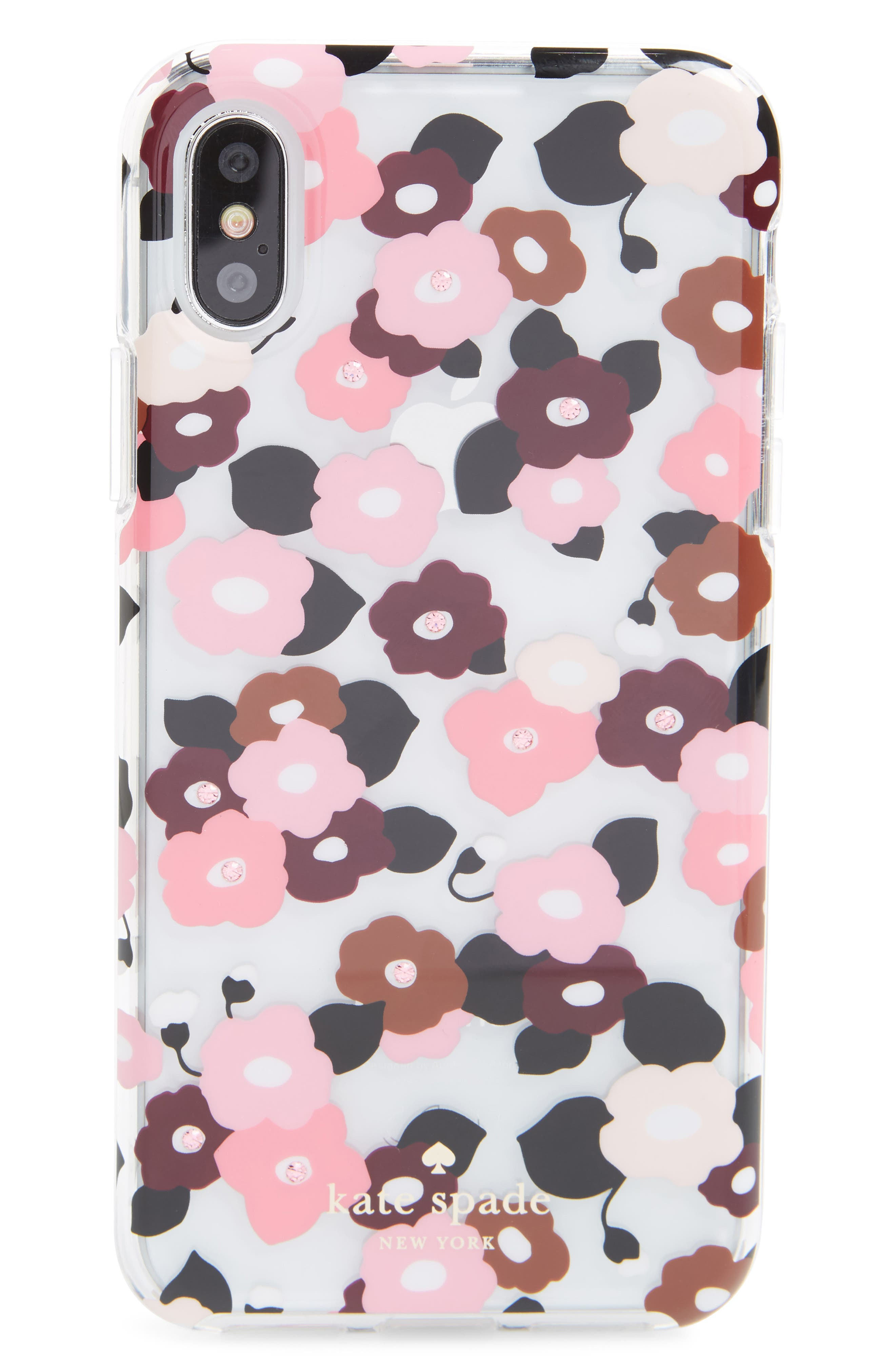 jeweled small blooms iPhone X case,                             Main thumbnail 1, color,