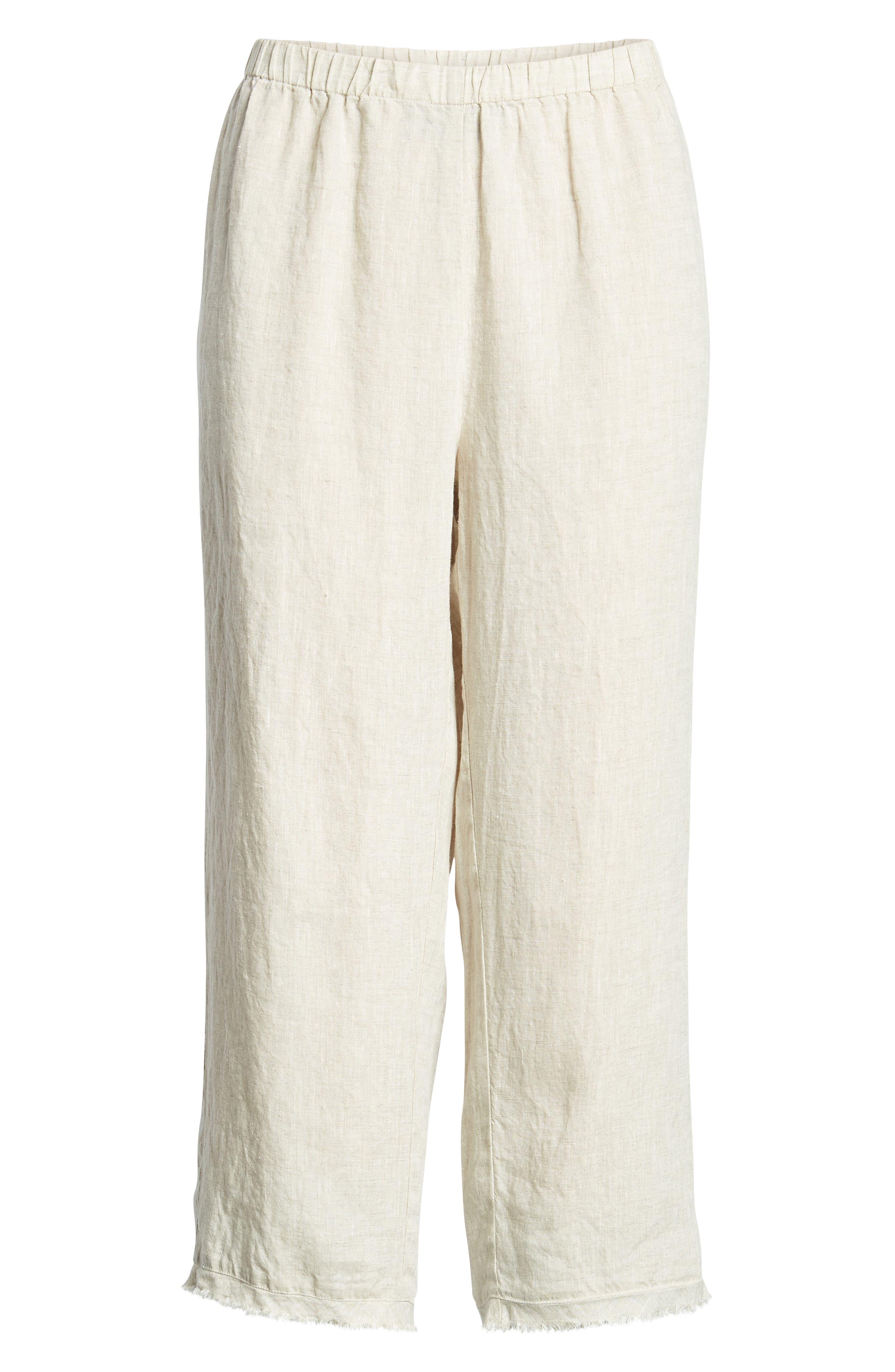 Crop Straight Leg Linen Pants,                             Alternate thumbnail 12, color,