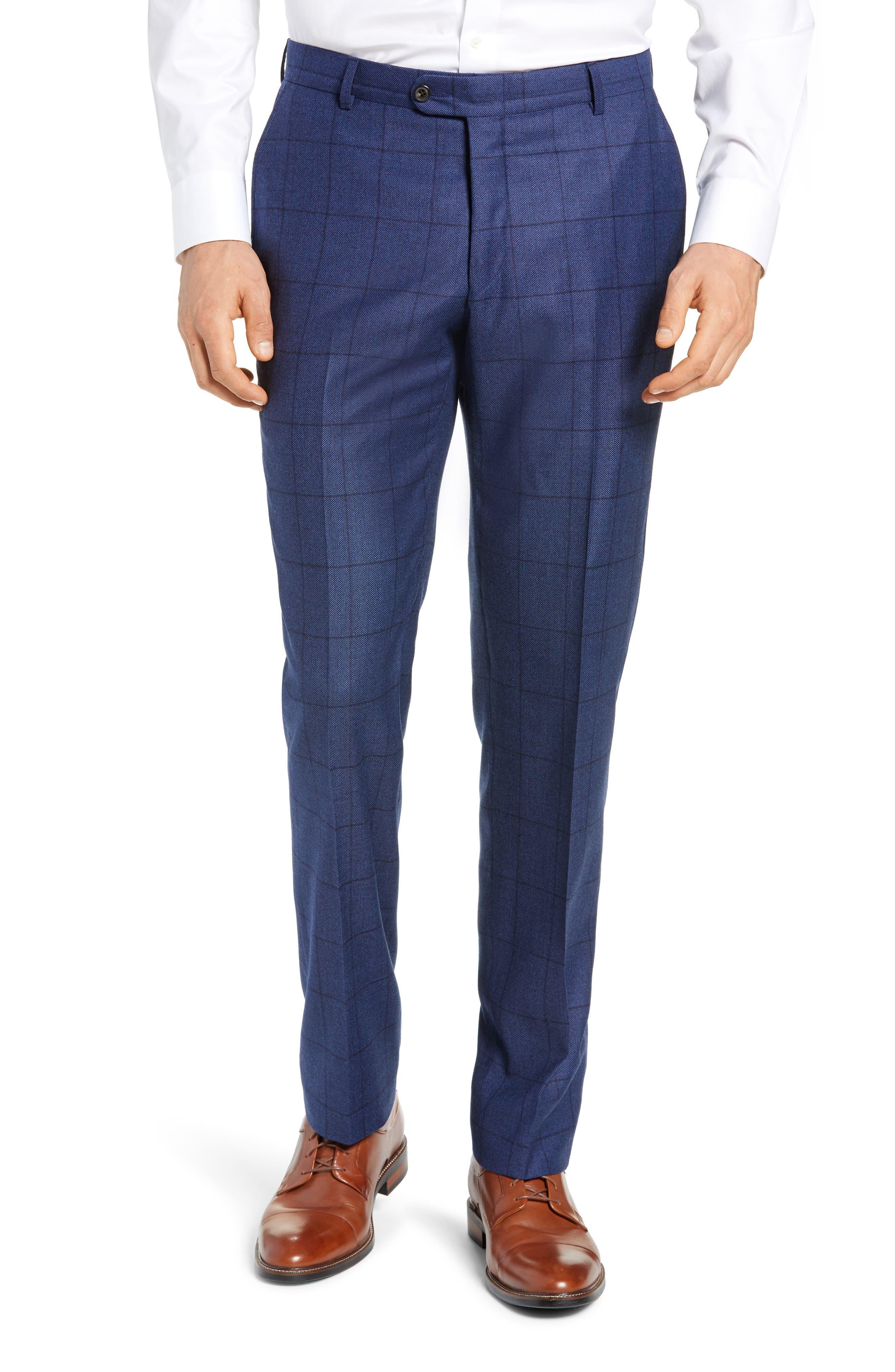 Classic Fit Windowpane Wool & Cashmere Suit,                             Alternate thumbnail 6, color,                             MEDIUM BLUE