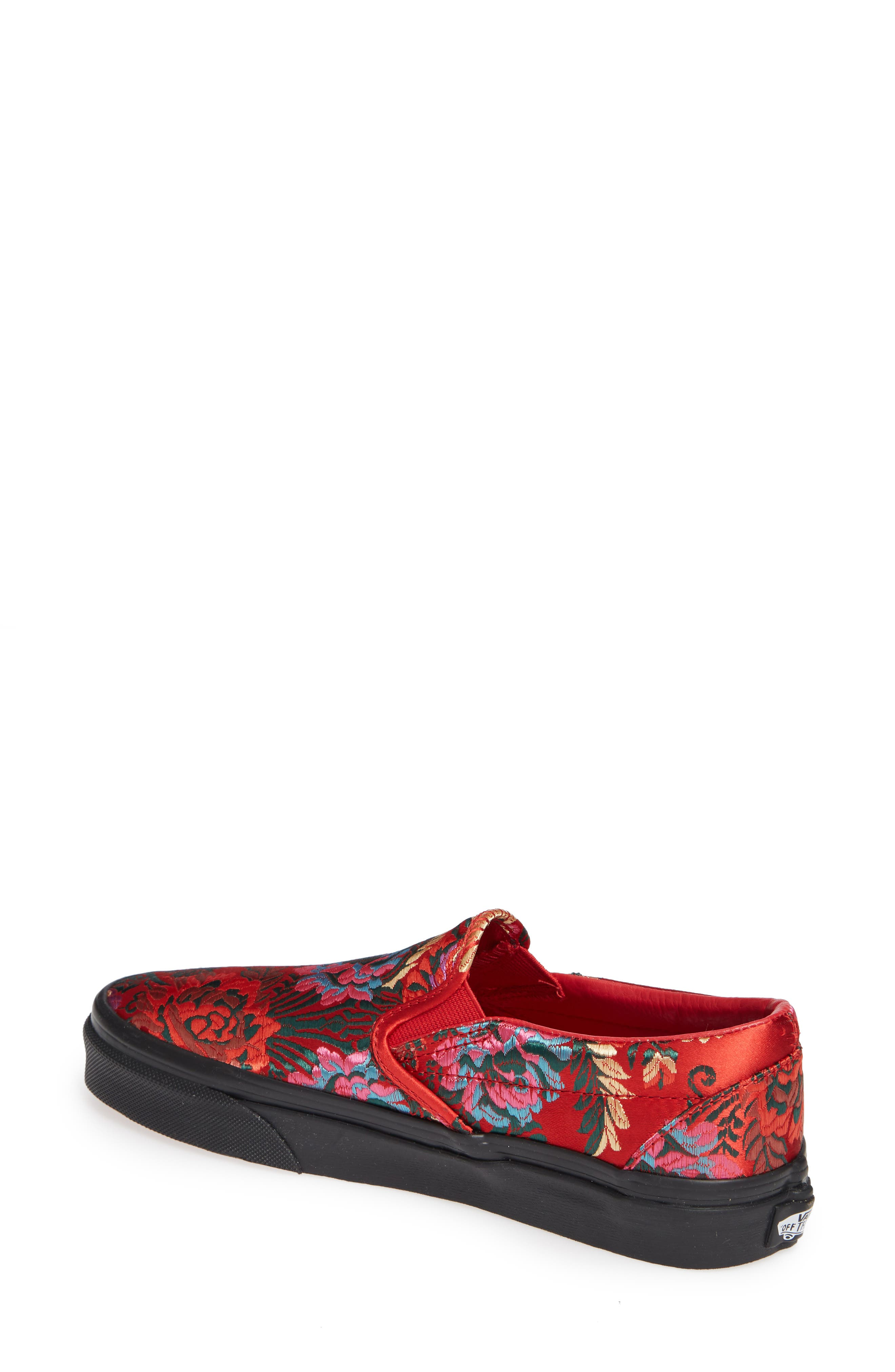 Classic Embroidered Satin Slip-On Sneaker,                             Alternate thumbnail 2, color,                             RED/ BLACK
