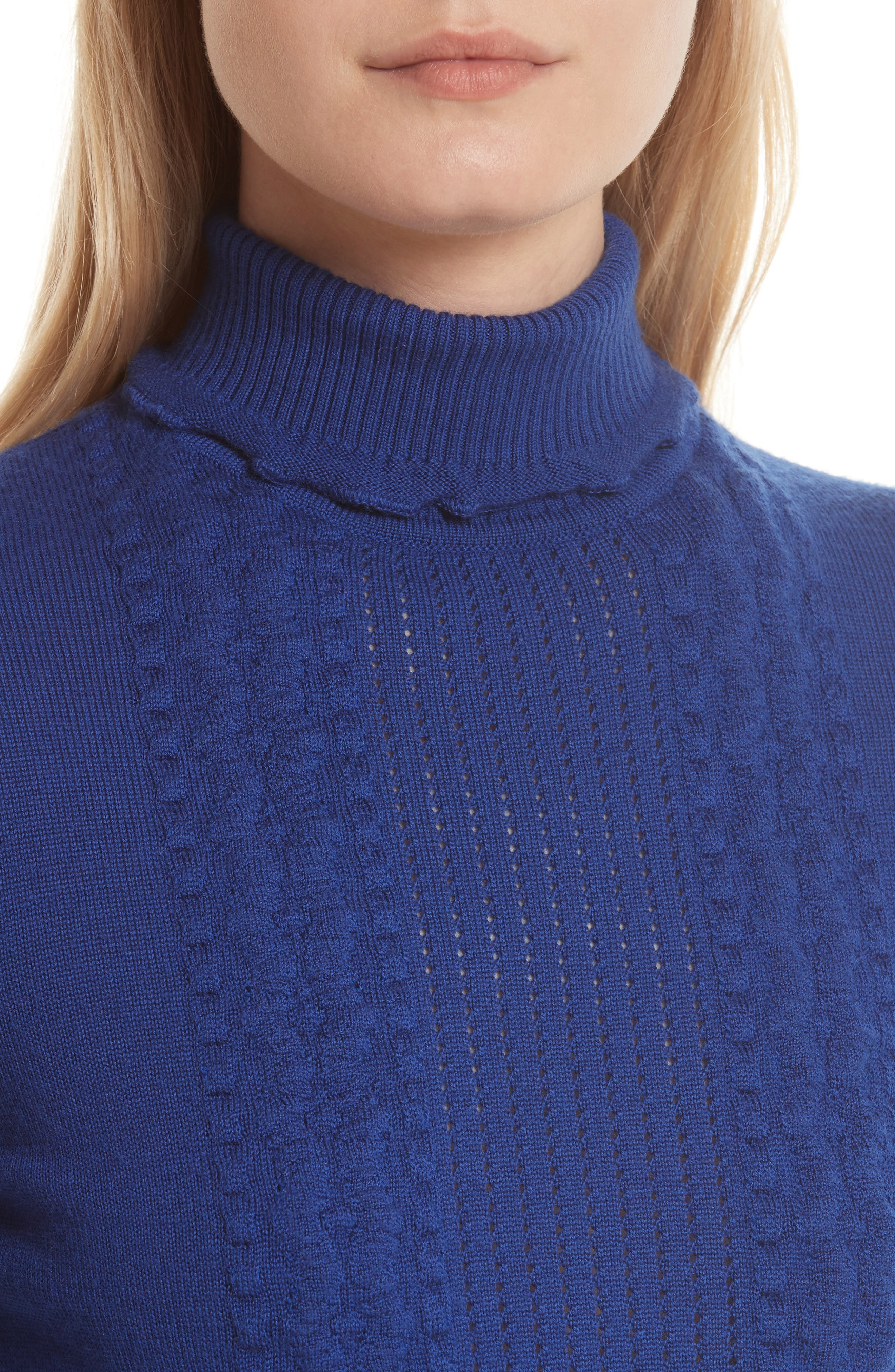 Puffy Cable Turtleneck Sweater,                             Alternate thumbnail 4, color,                             430