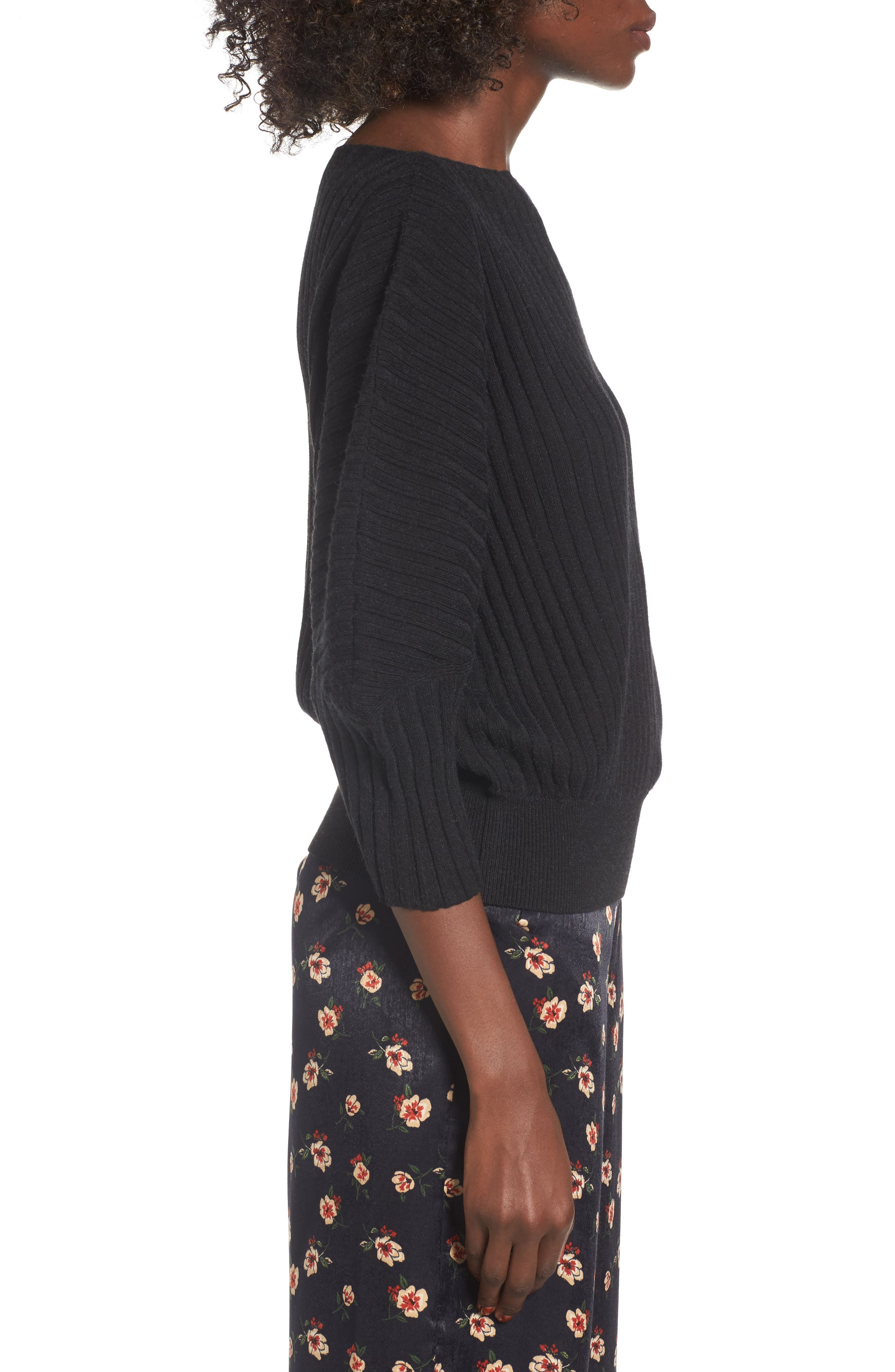 Rib Knit Blouson Sweater,                             Alternate thumbnail 3, color,                             001