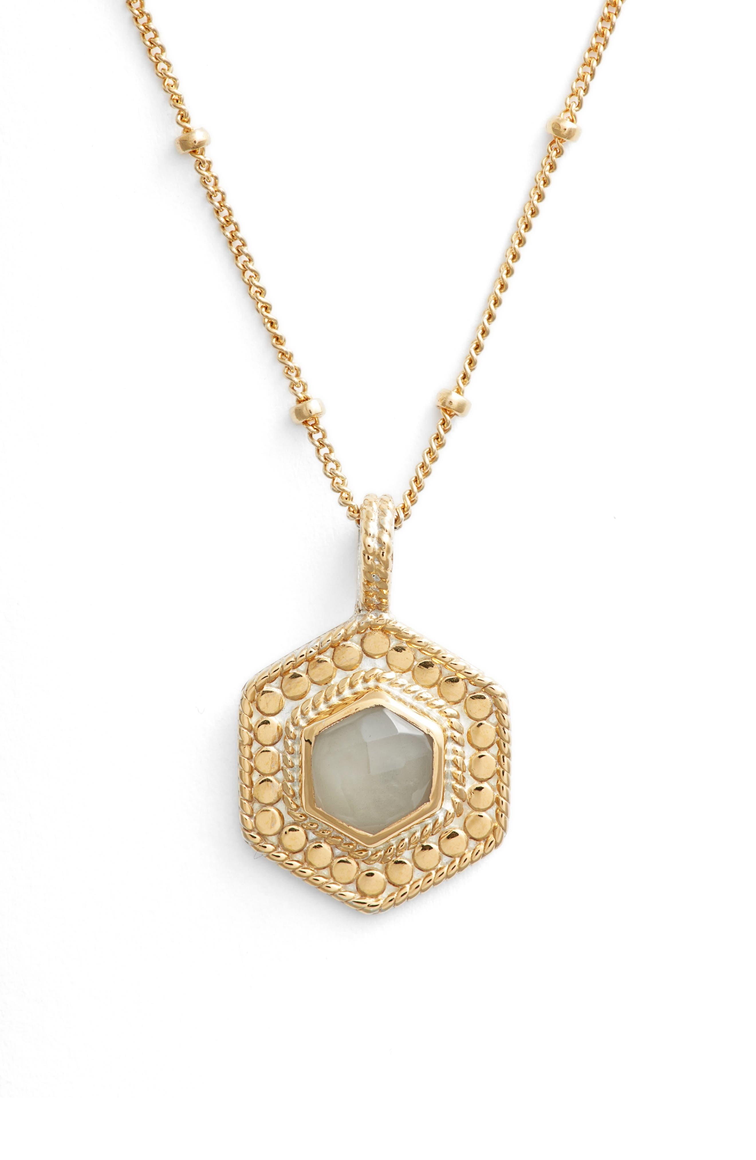 Grey Moonstone Hexagon Pendant Necklace,                         Main,                         color, 020