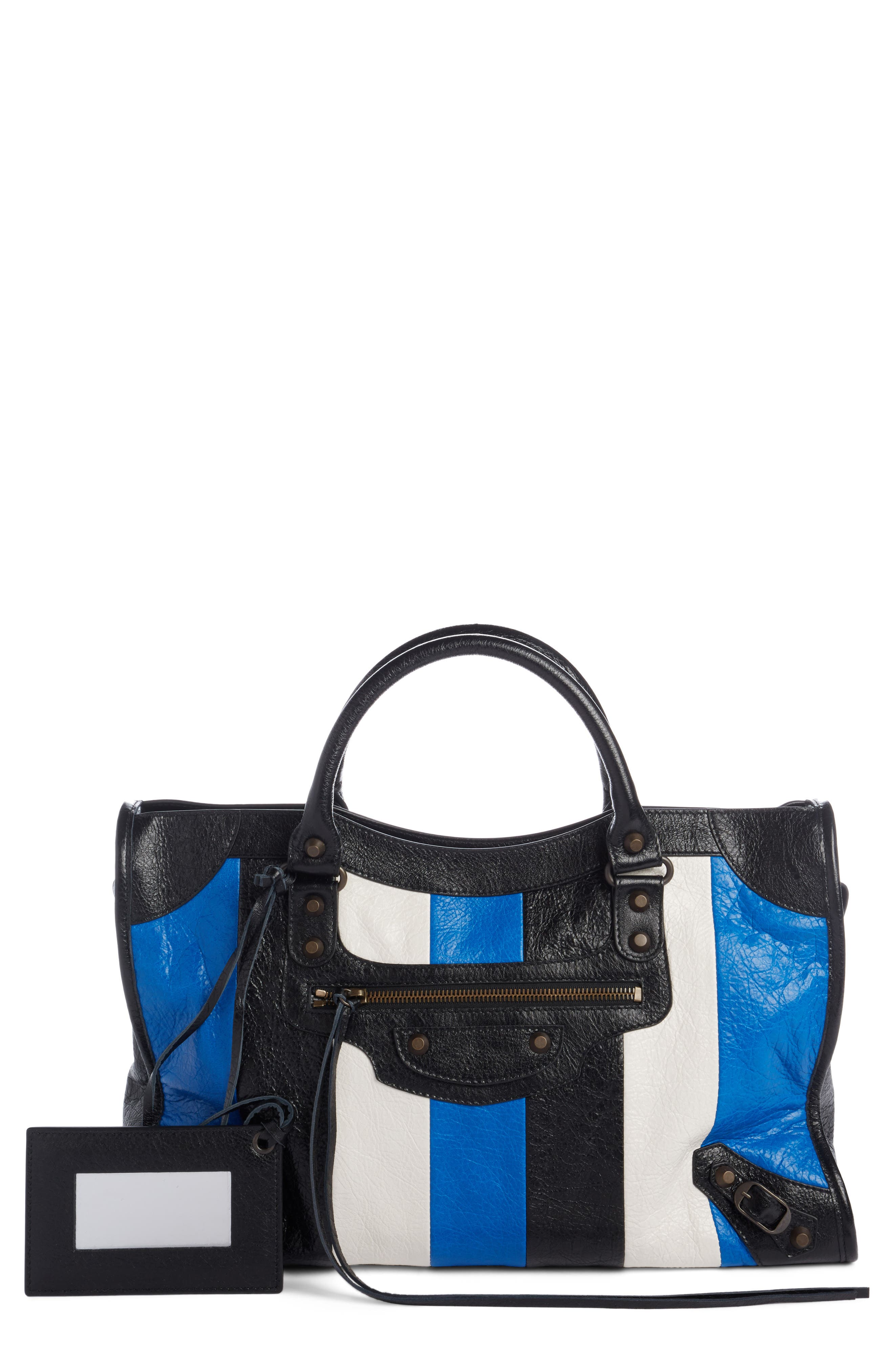 Classic City Stripe Leather Tote,                         Main,                         color,