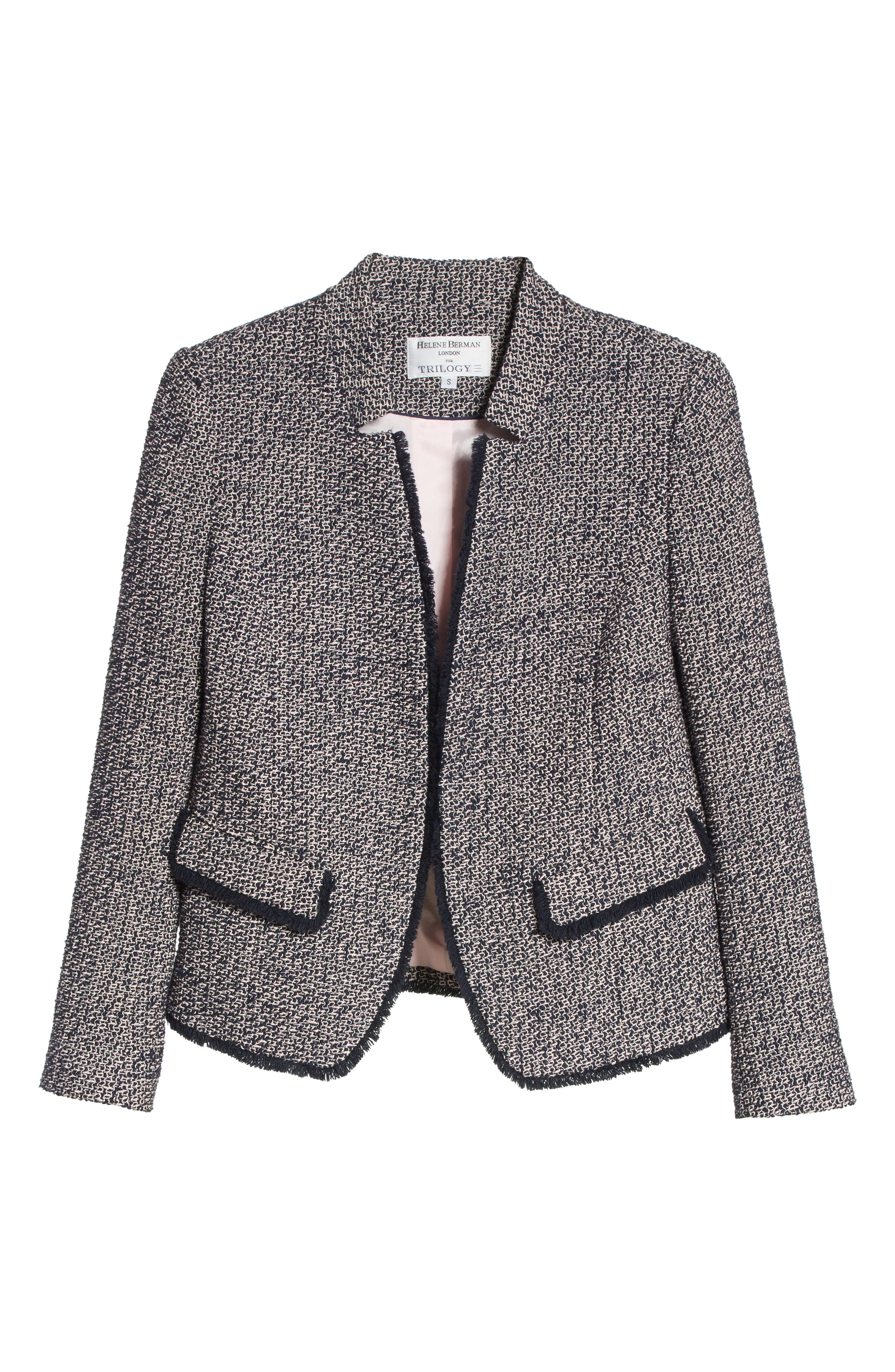 Notch Collar Tweed Jacket,                             Alternate thumbnail 5, color,