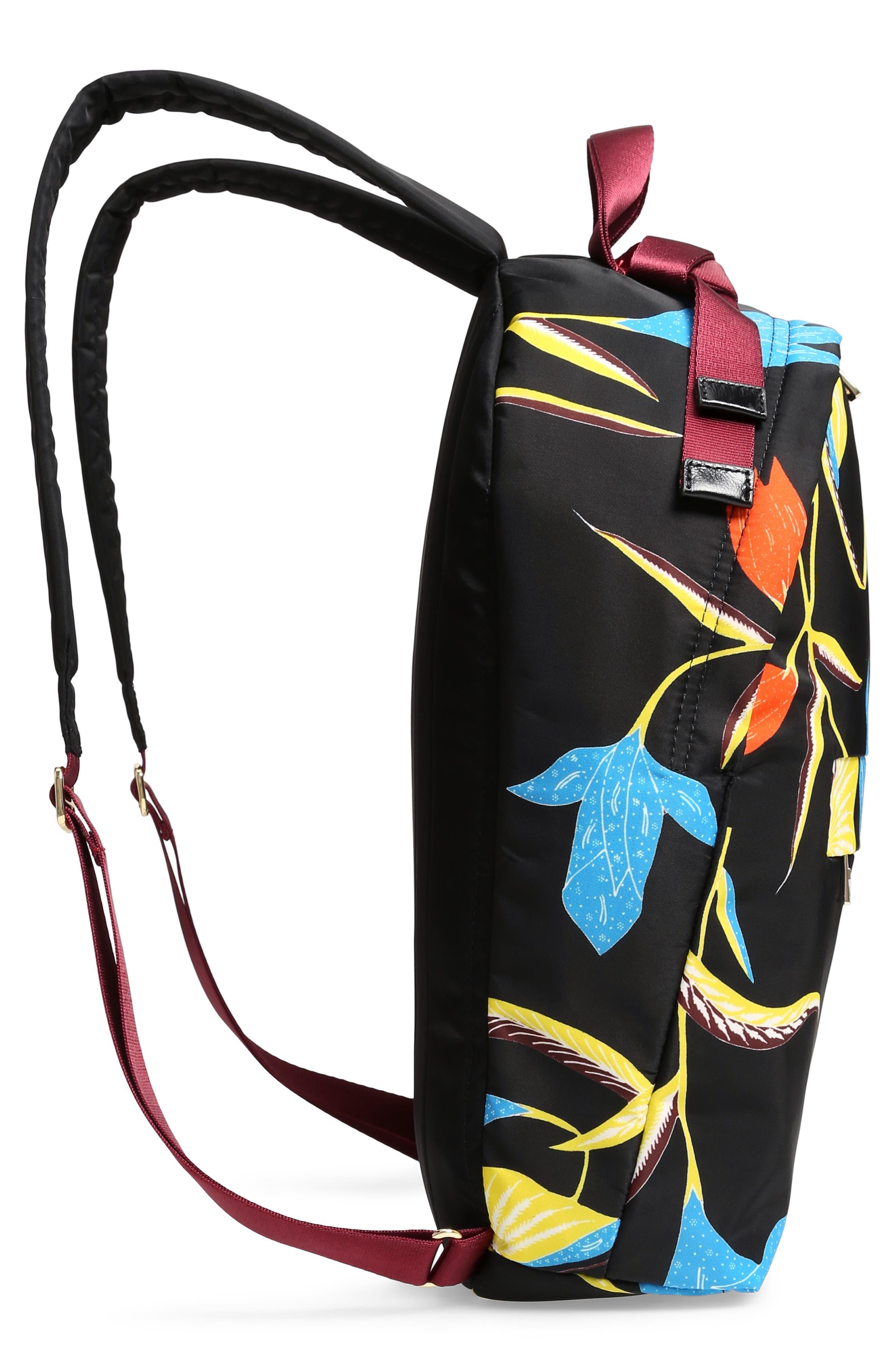 DVF Print Nylon Backpack,                             Alternate thumbnail 5, color,                             OSWALD BLACK