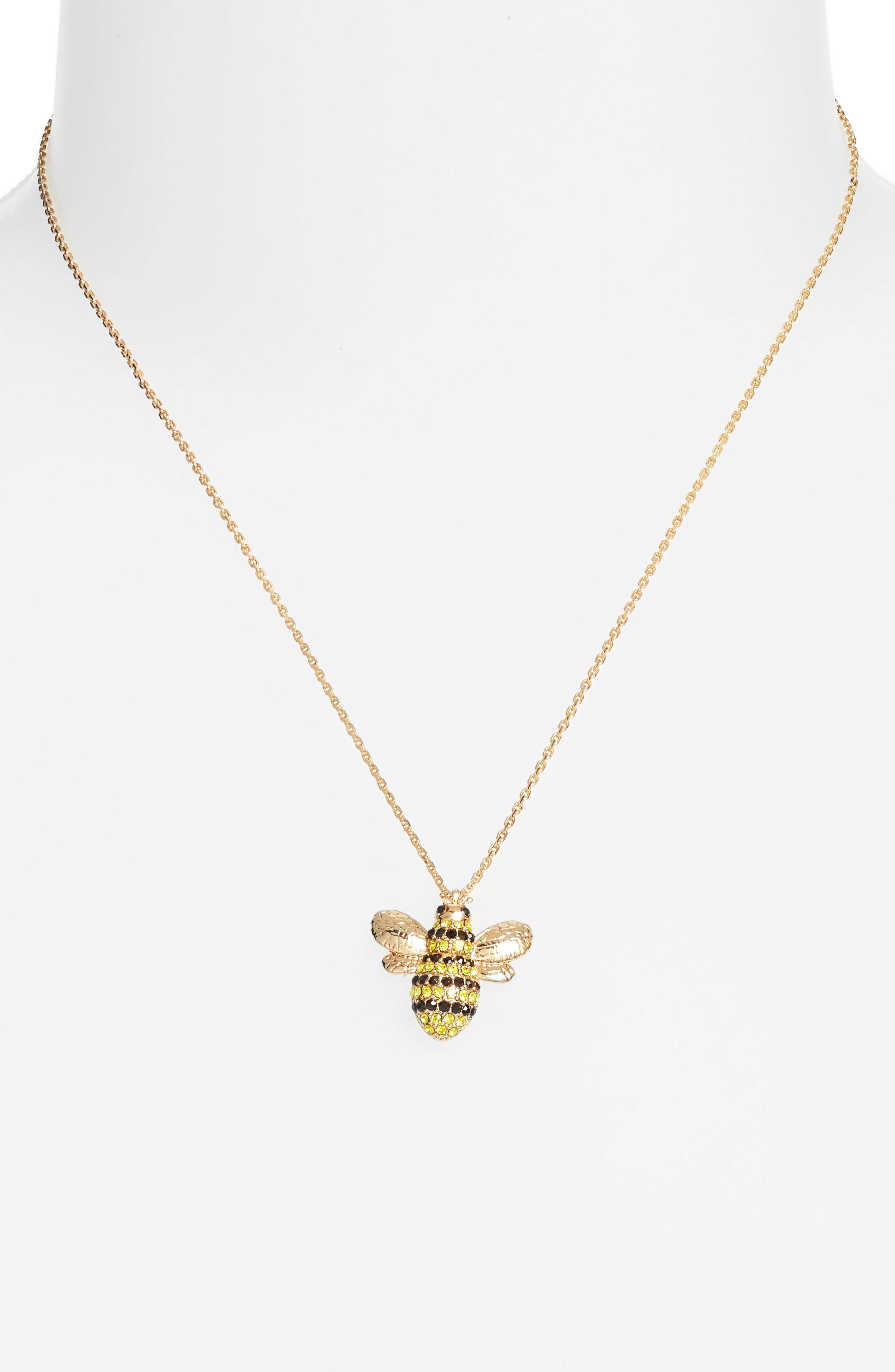 picnic perfect pavé bee necklace,                             Alternate thumbnail 2, color,                             710