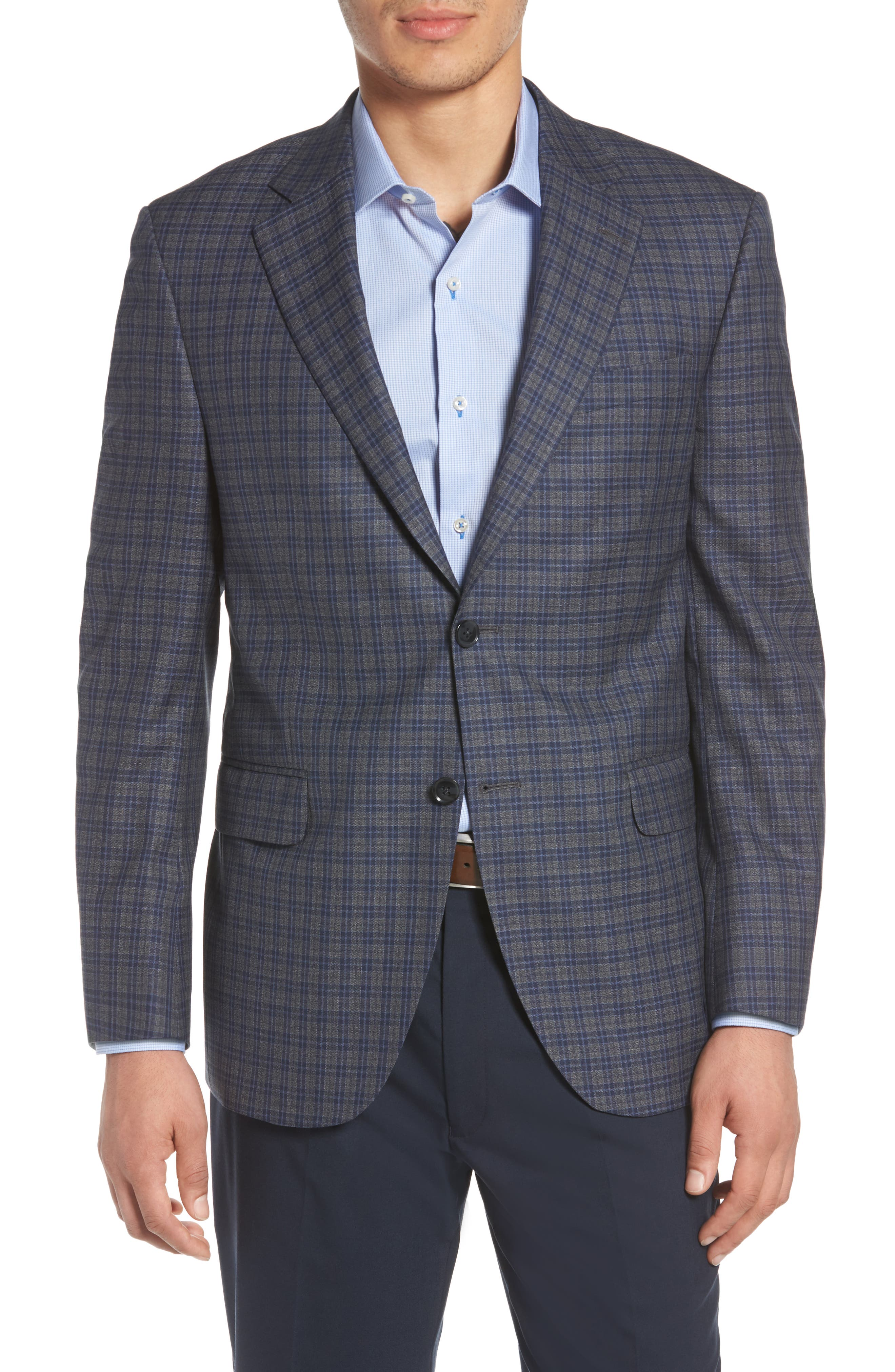 Classic Fit Check Wool Sport Coat,                         Main,                         color, 020