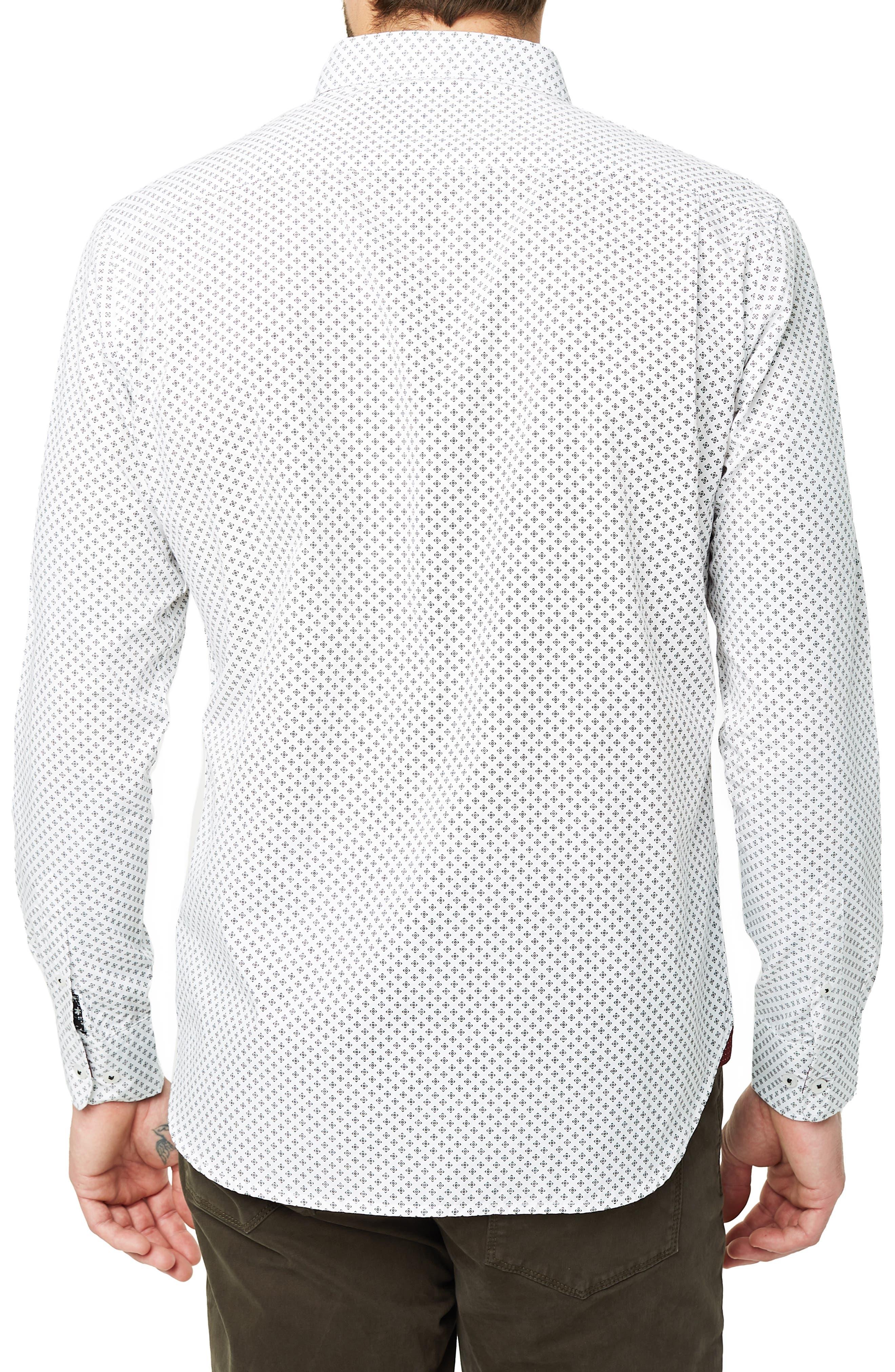 Radio Mix Slim Fit Sport Shirt,                             Alternate thumbnail 3, color,                             WHITE