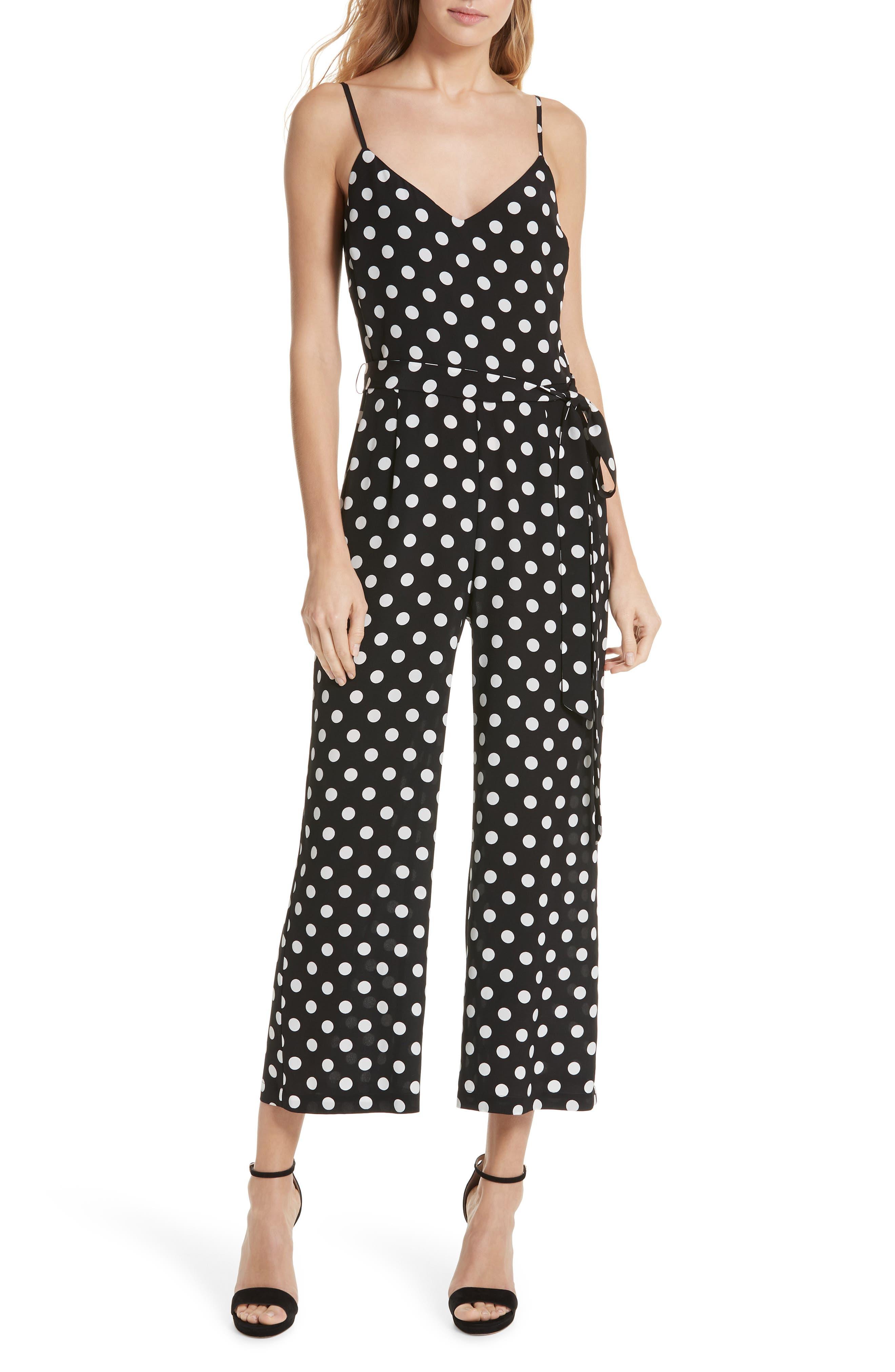 Jaelyn Polka Dot Silk Jumpsuit in Black/ Ivory
