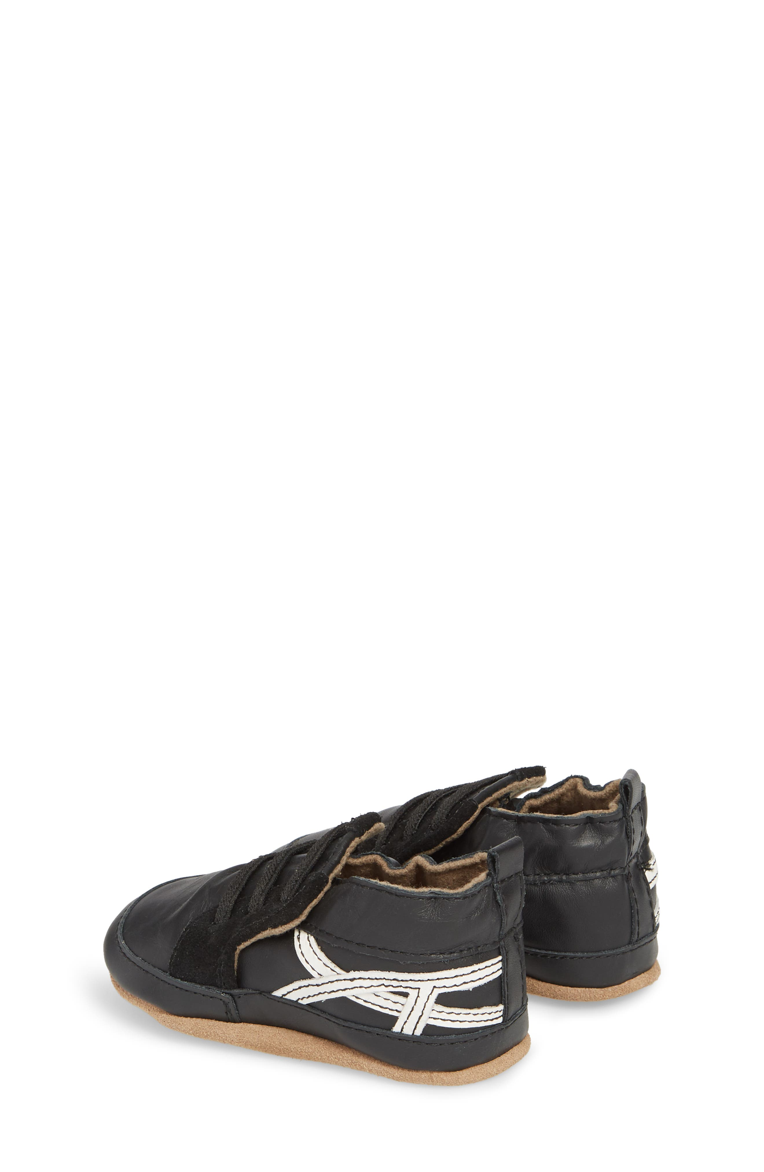 Super Sporty Sneaker Crib Shoe,                             Alternate thumbnail 2, color,                             BLACK