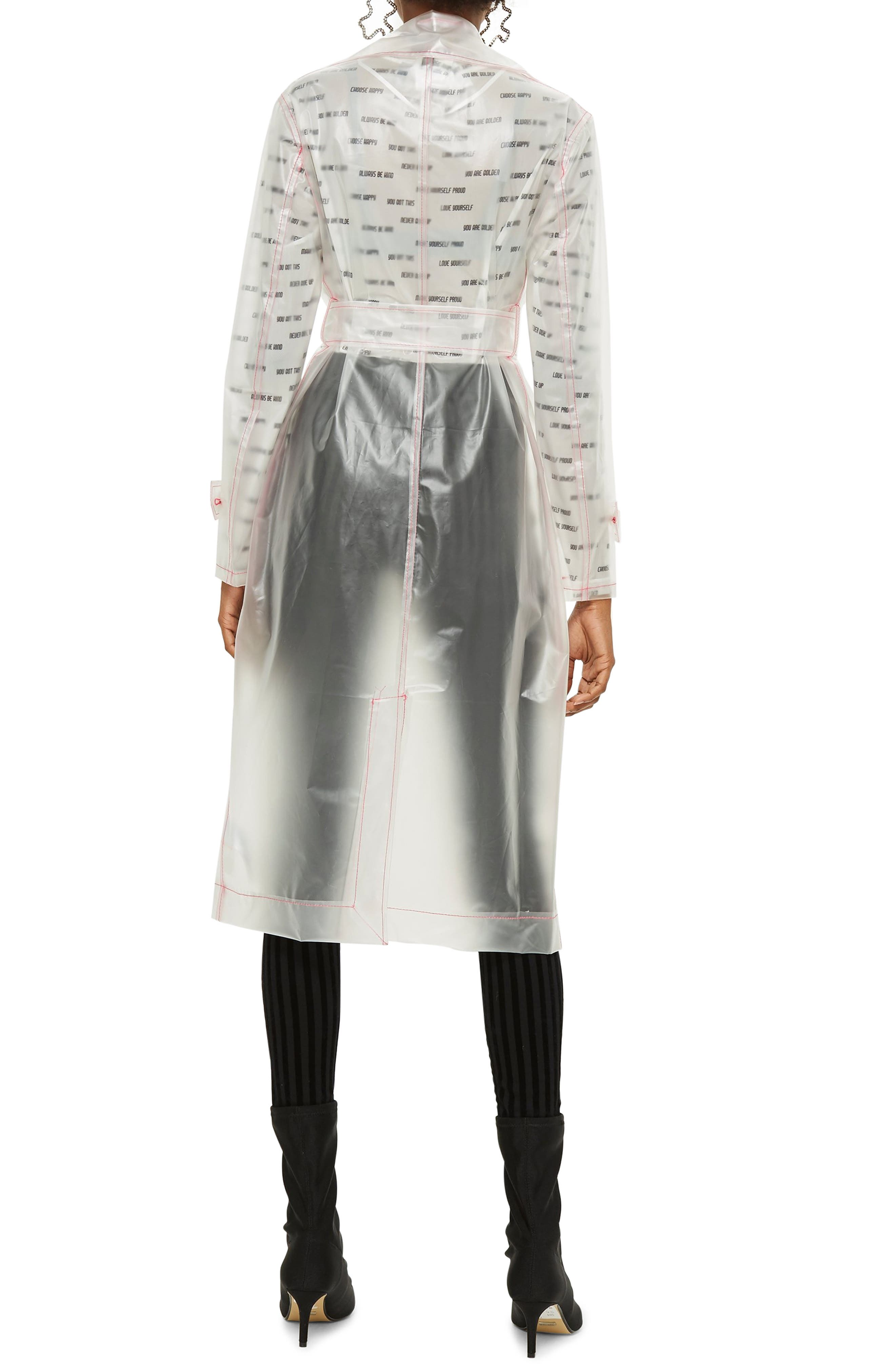 TOPSHOP,                             Frosted Vinyl Mac Trench Coat,                             Alternate thumbnail 2, color,                             100