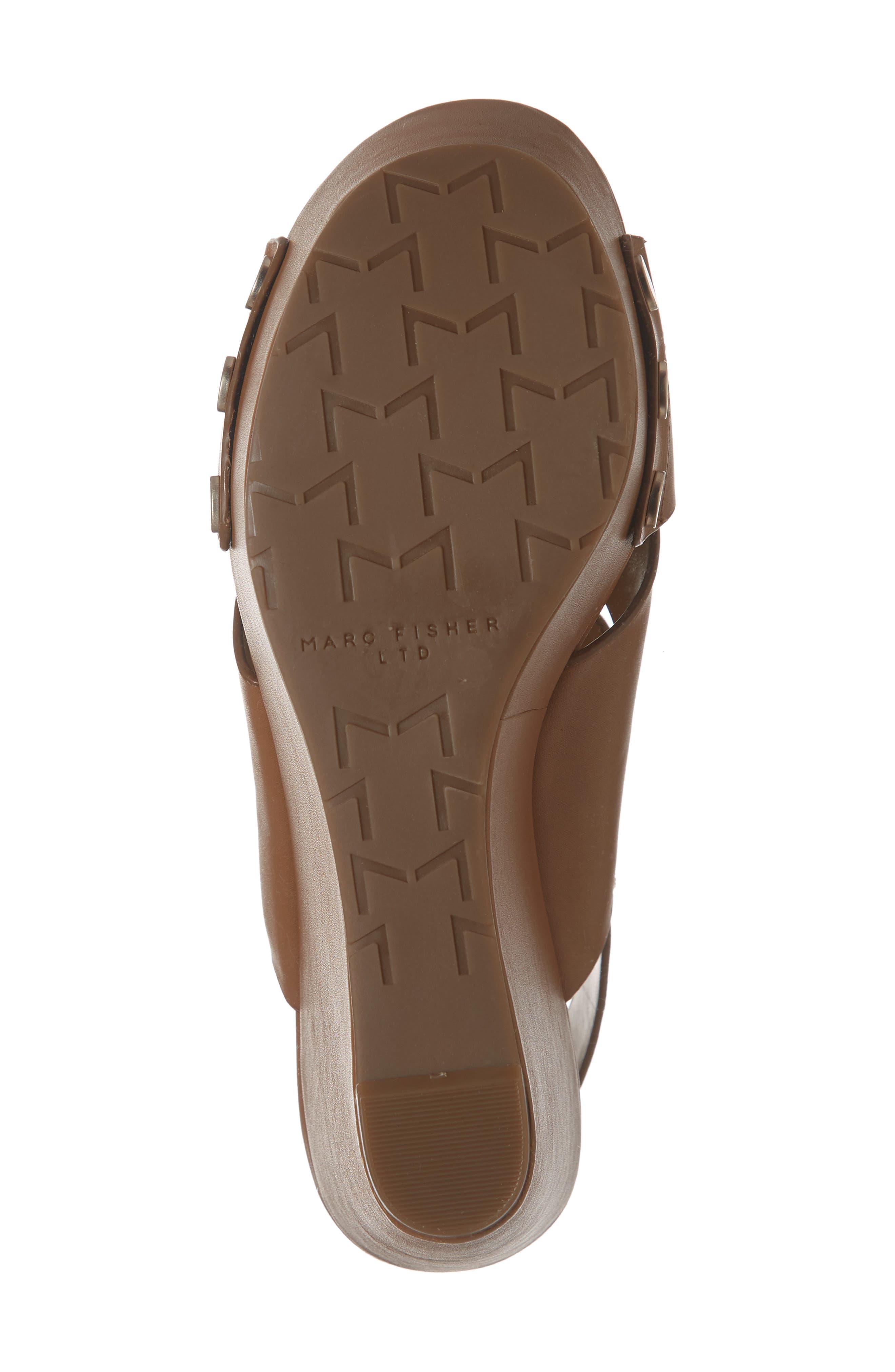 Bianka Platform Wedge Sandal,                             Alternate thumbnail 6, color,                             GINGER SNAP LEATHER