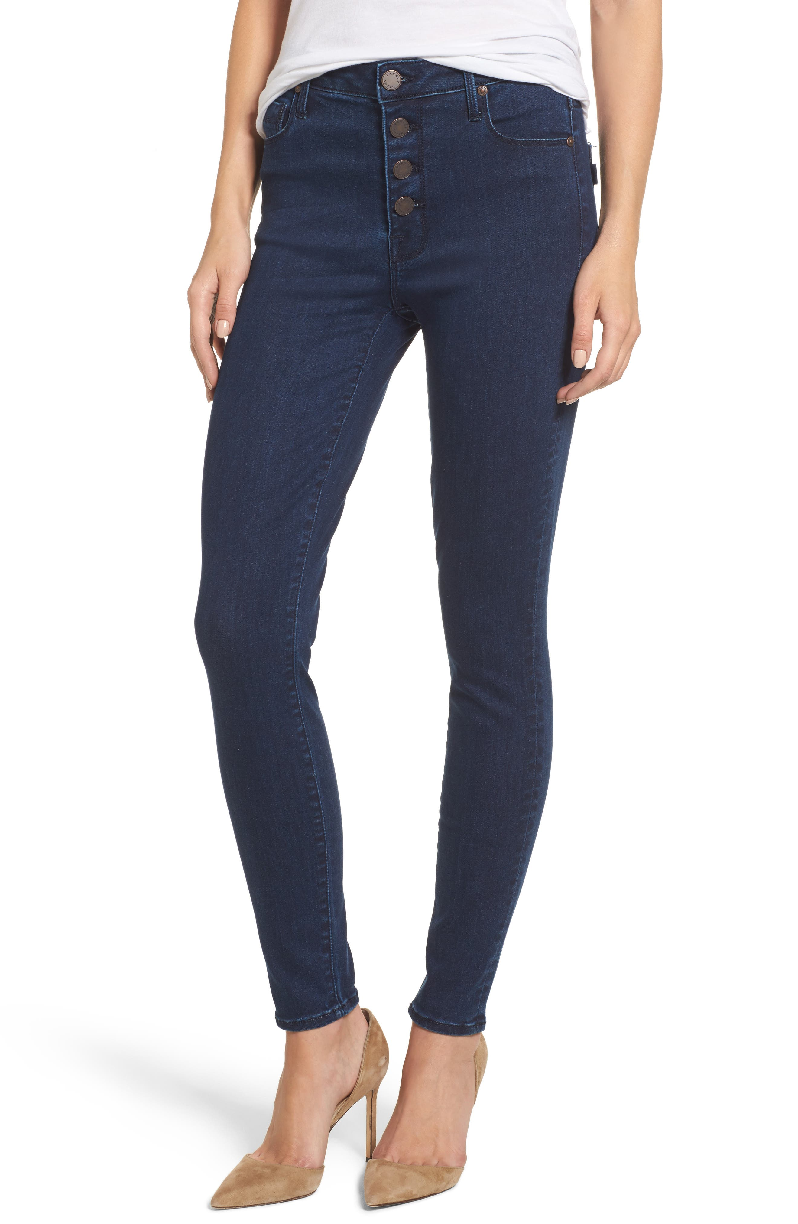 Bombshell High Waist Skinny Jeans,                         Main,                         color, 401