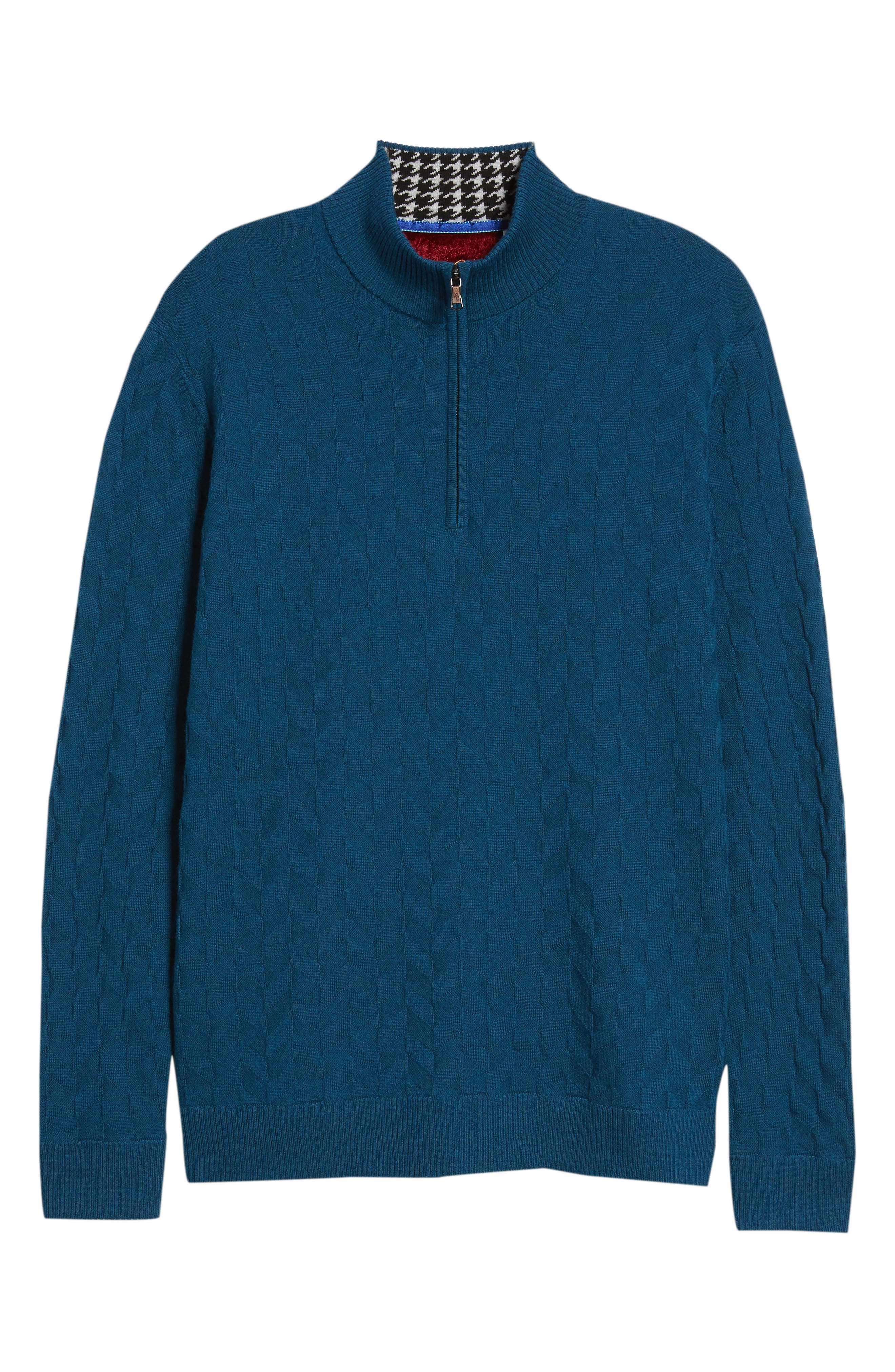 Rowley Classic Fit Quarter Zip Sweater,                             Alternate thumbnail 6, color,                             TEAL