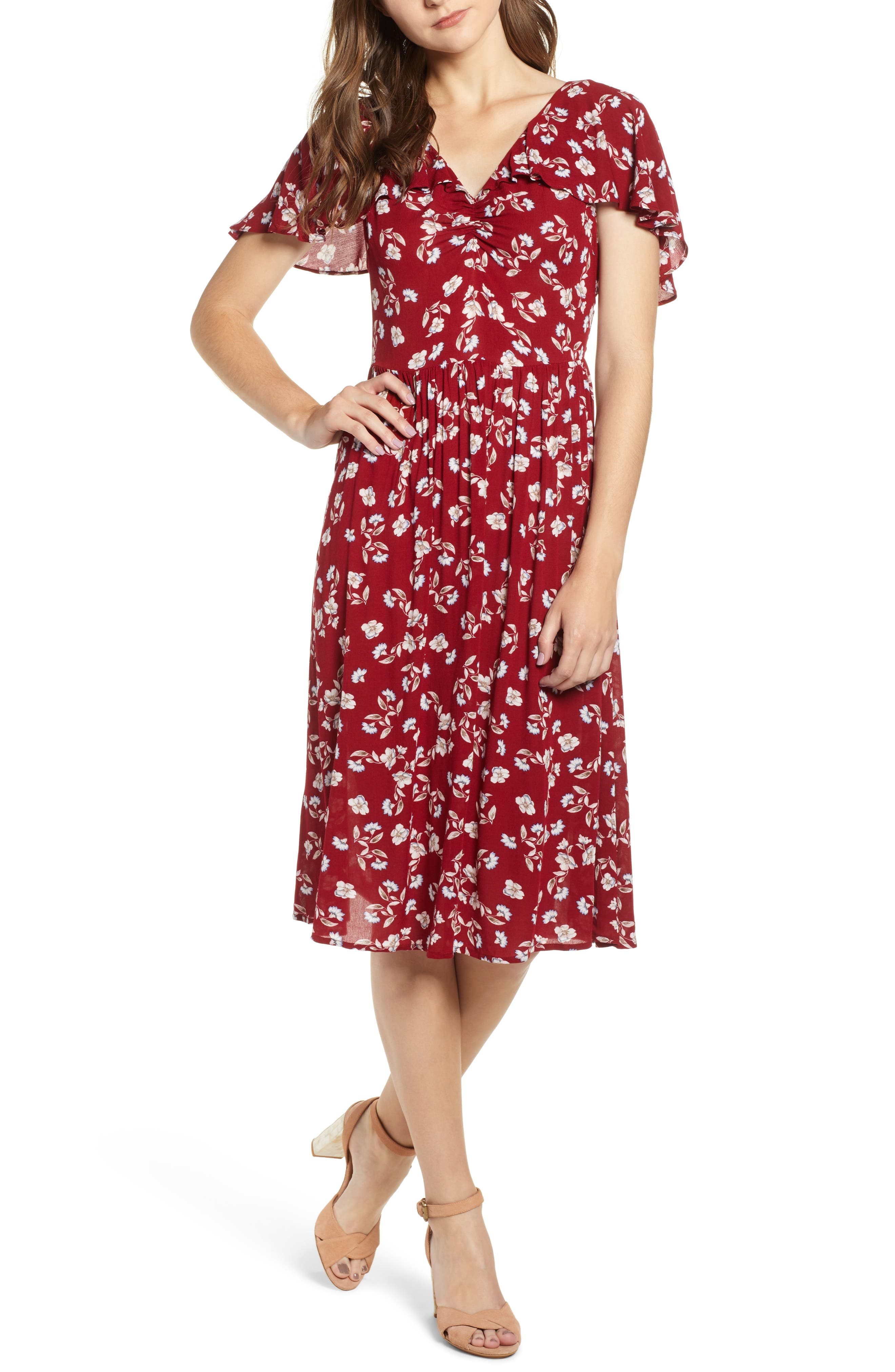 Floral Midi Dress,                             Main thumbnail 1, color,                             WINE FLORAL