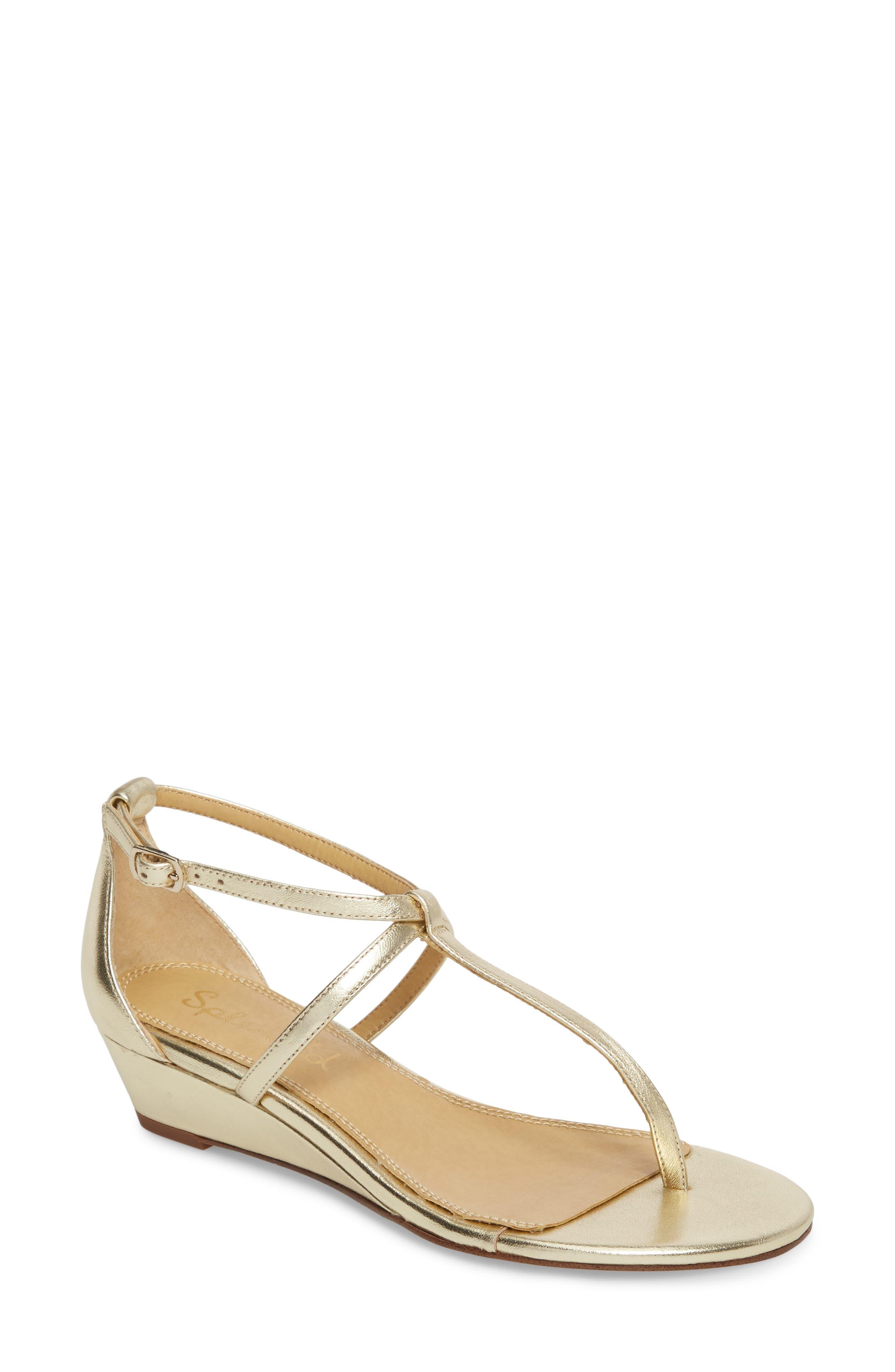Splendid Bryce T-Strap Wedge Sandal, Metallic