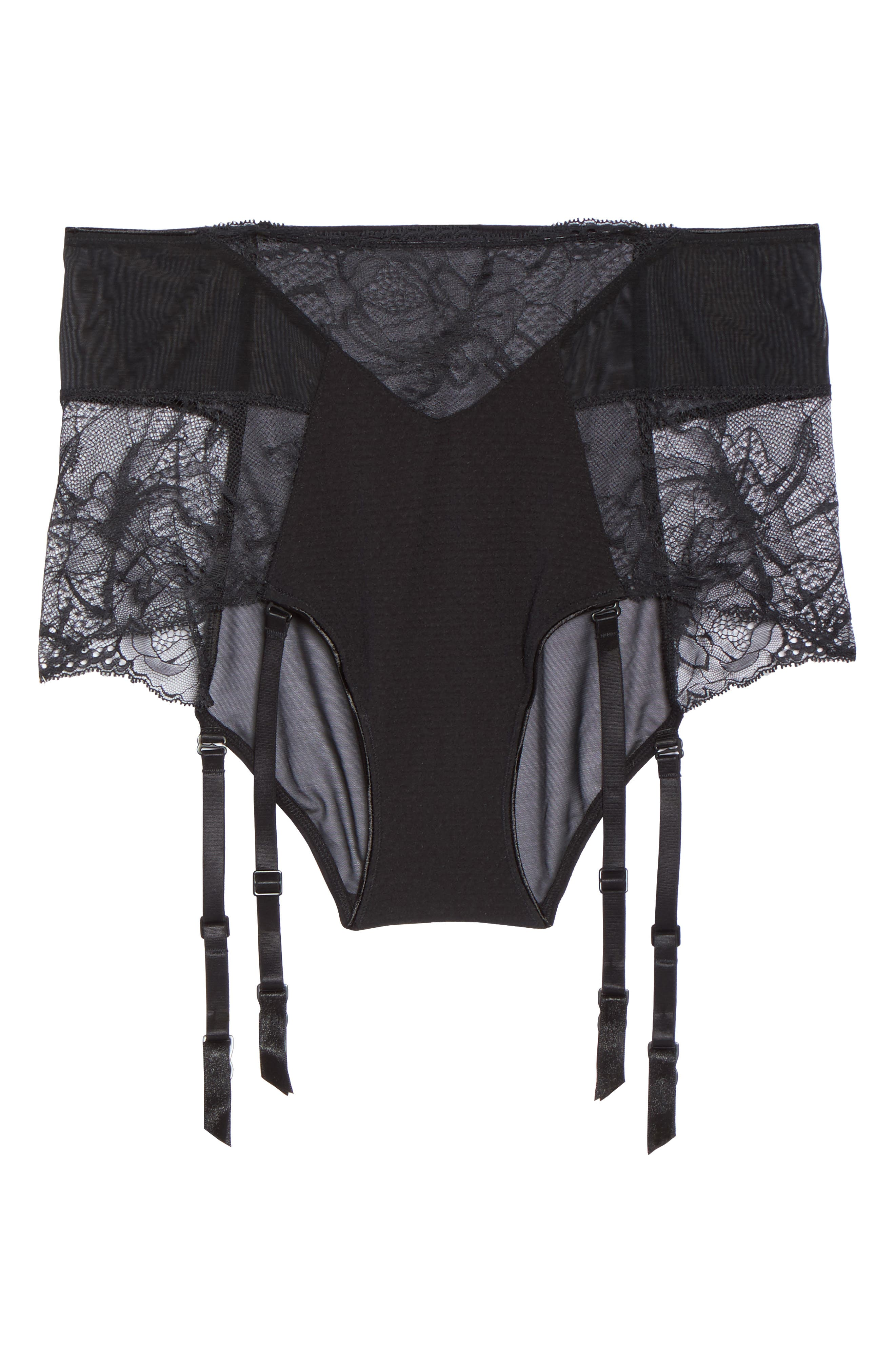 Black Rose Lace High Waist Briefs with Suspenders,                             Alternate thumbnail 7, color,                             001