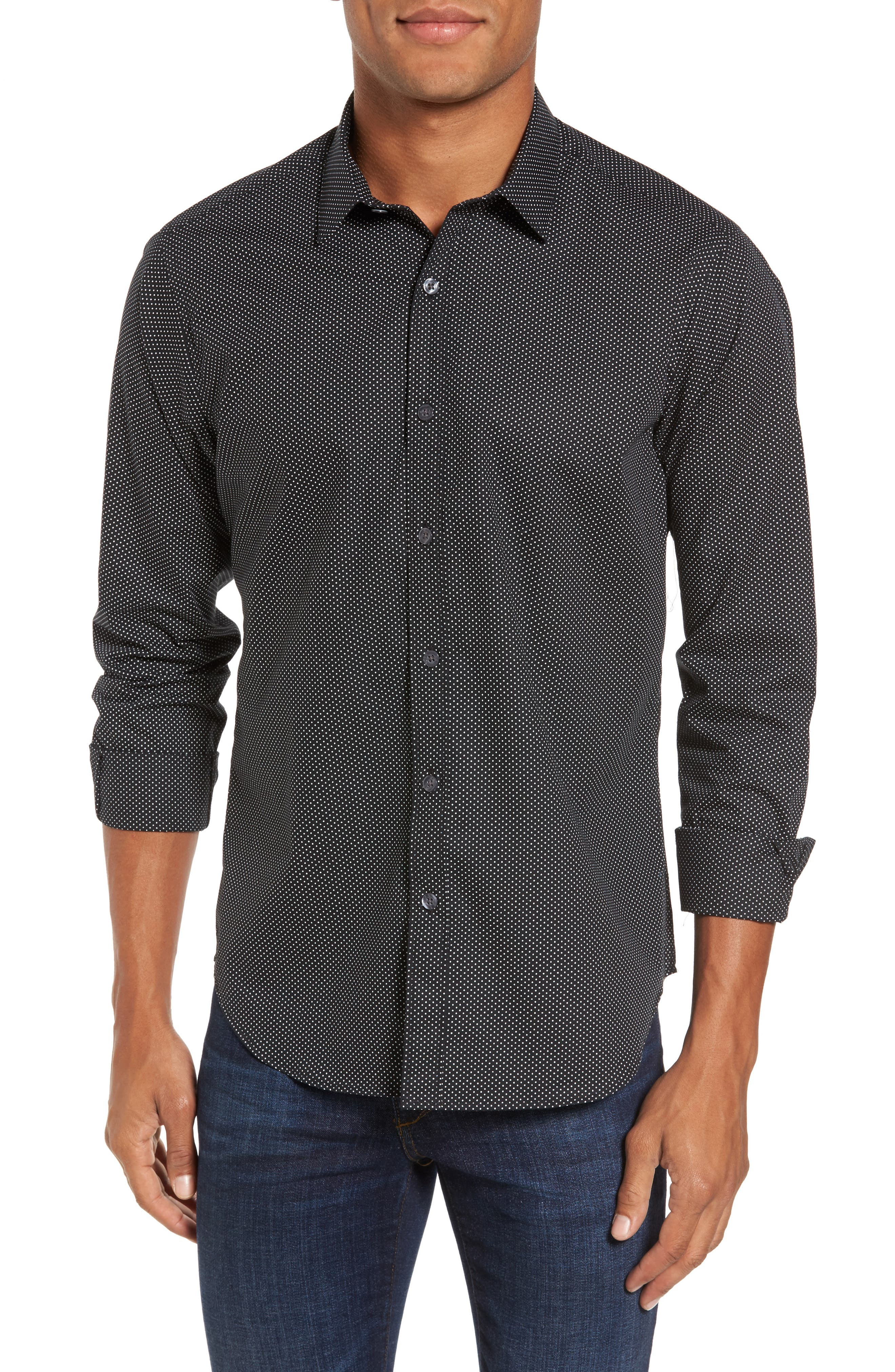 Slim Fit Print Sport Shirt,                         Main,                         color, 001