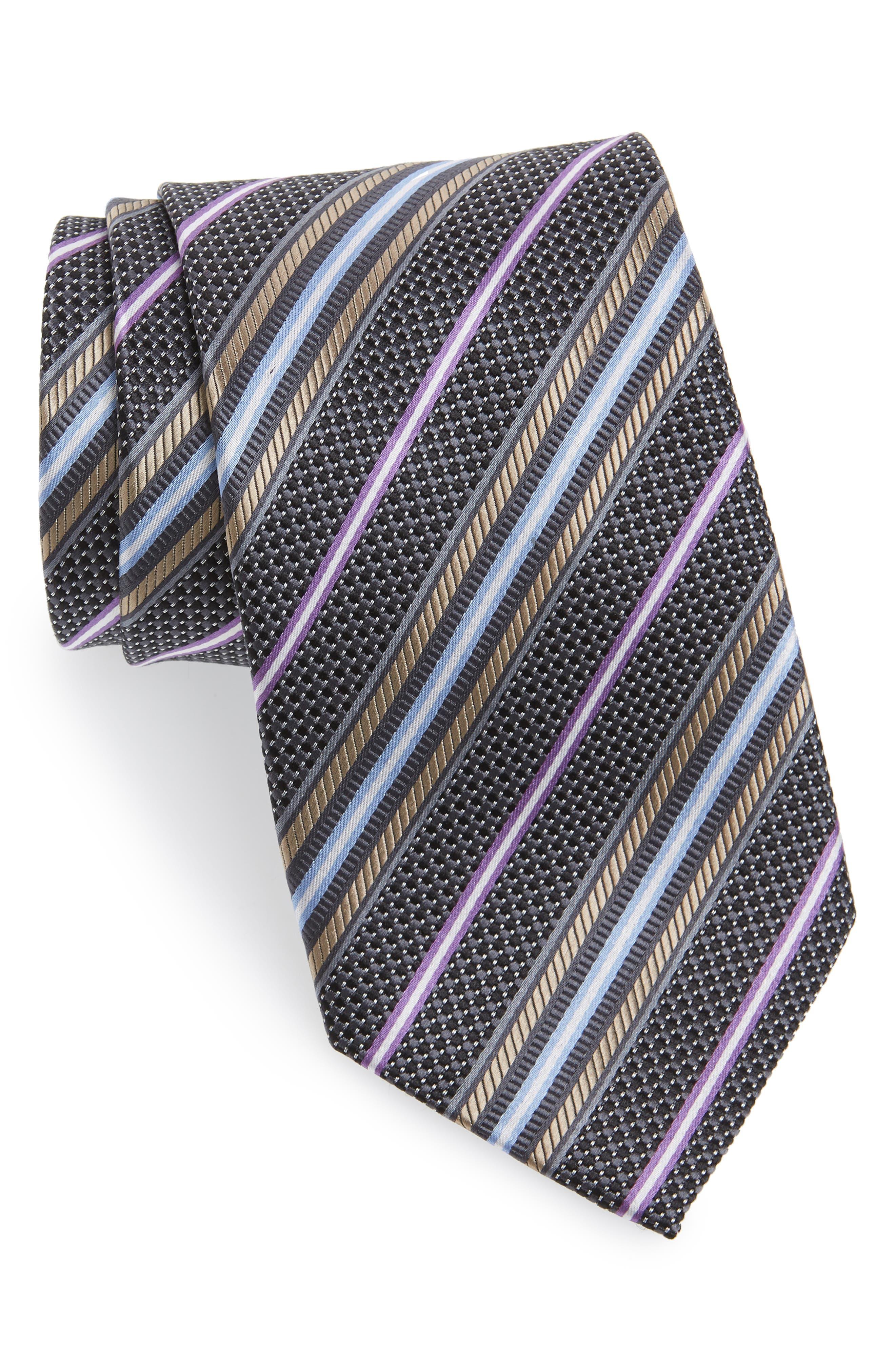 Stripe Silk Tie,                         Main,                         color, 001