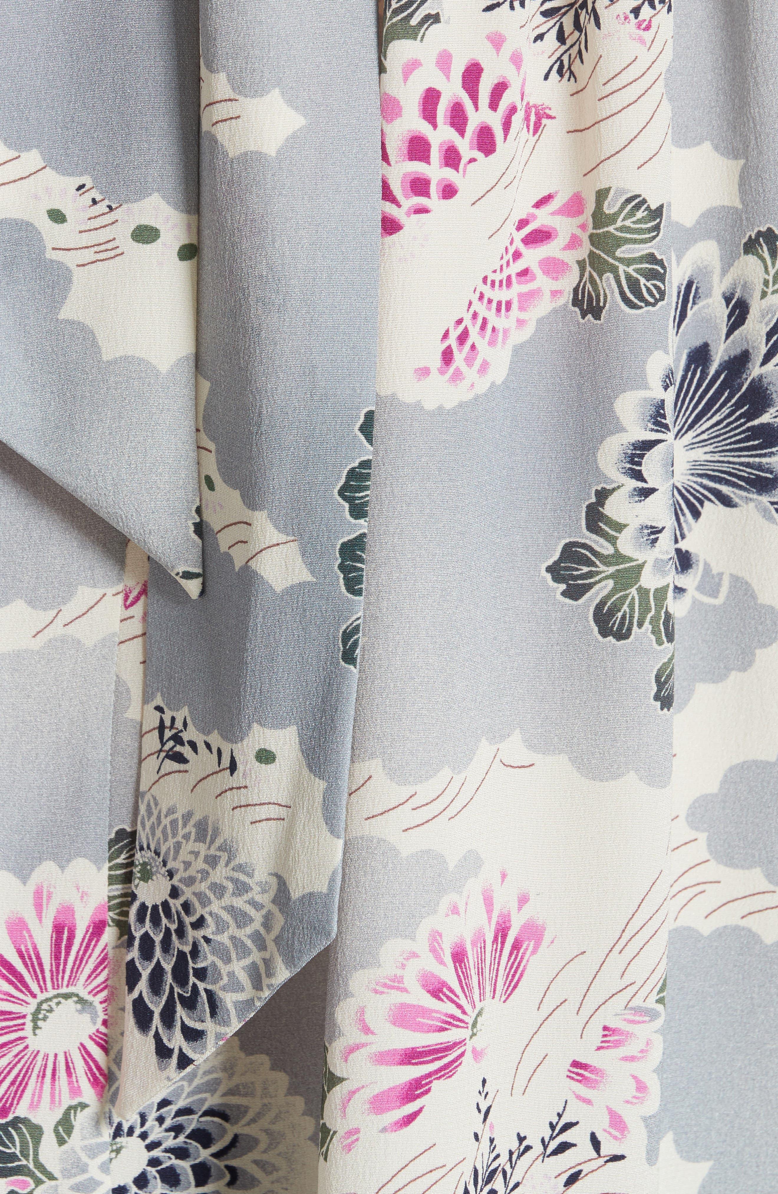 Flutter Sleeve Floral Print Silk Blouse,                             Alternate thumbnail 5, color,                             020