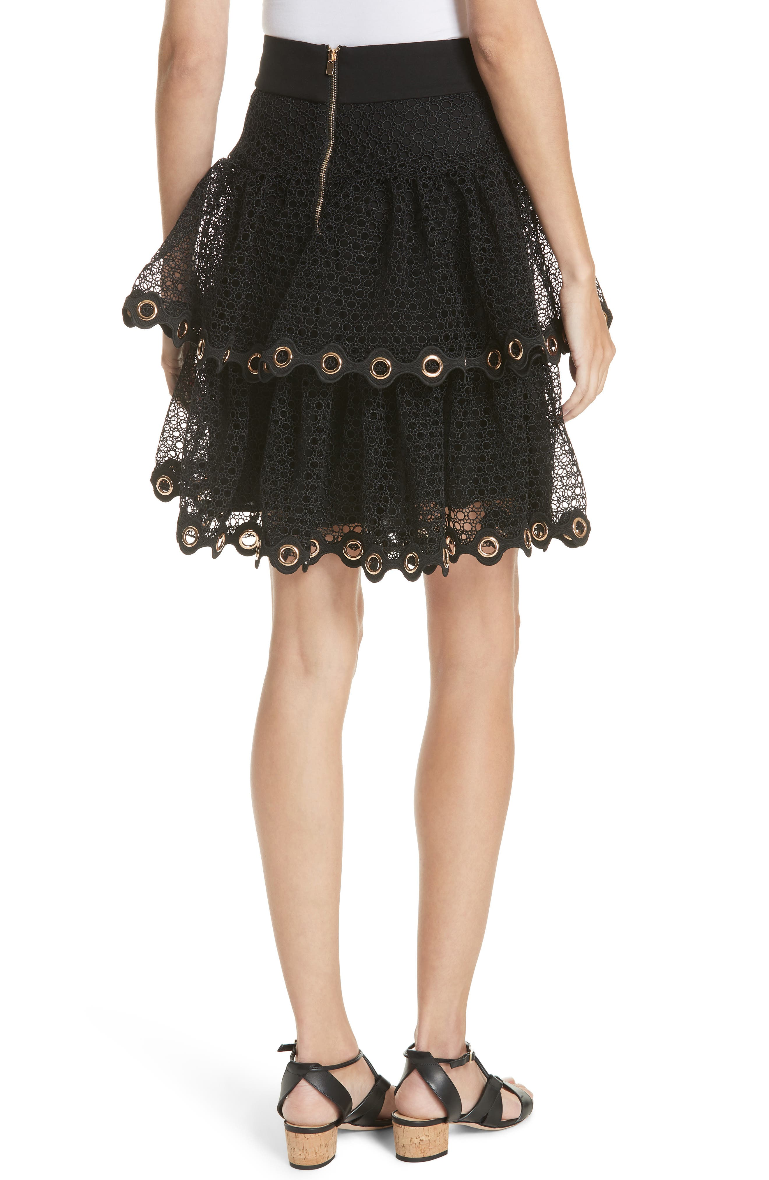 James Tiered Ruffle Grommet Skirt,                             Alternate thumbnail 2, color,