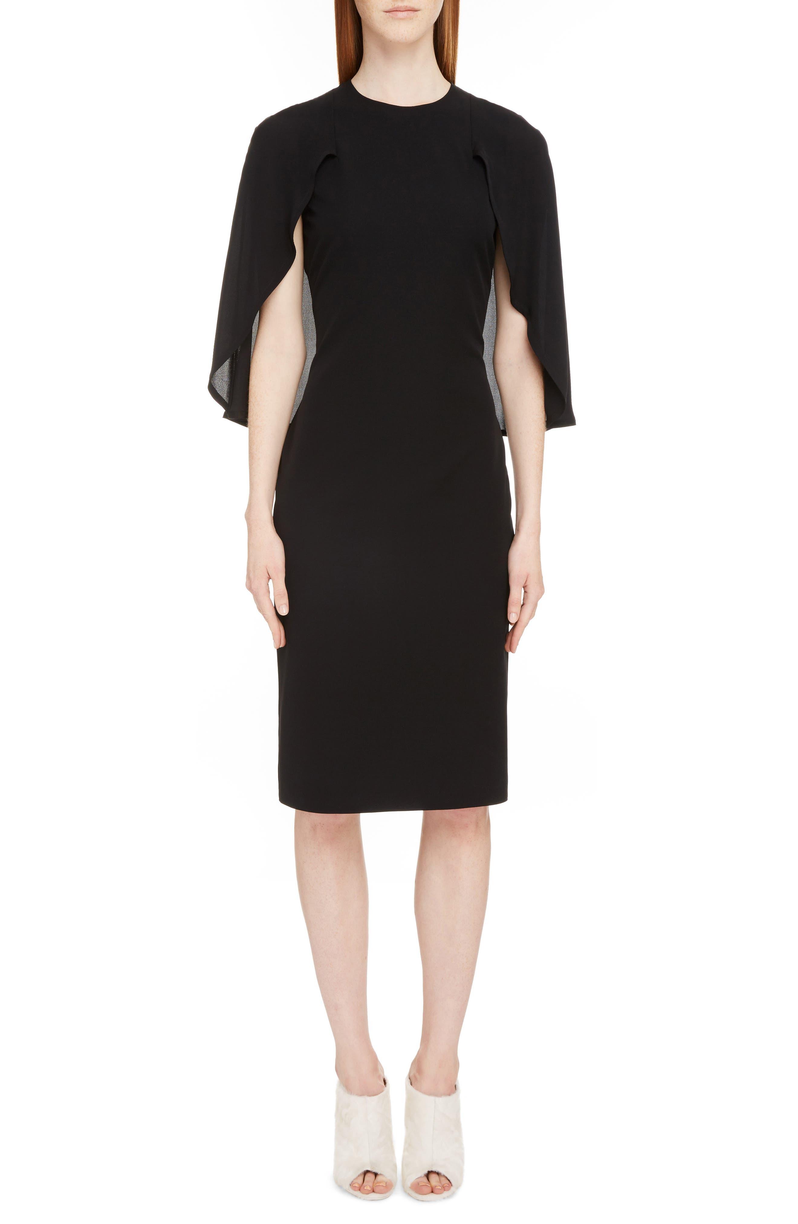 Chiffon Cape Silk Georgette Dress,                             Main thumbnail 1, color,