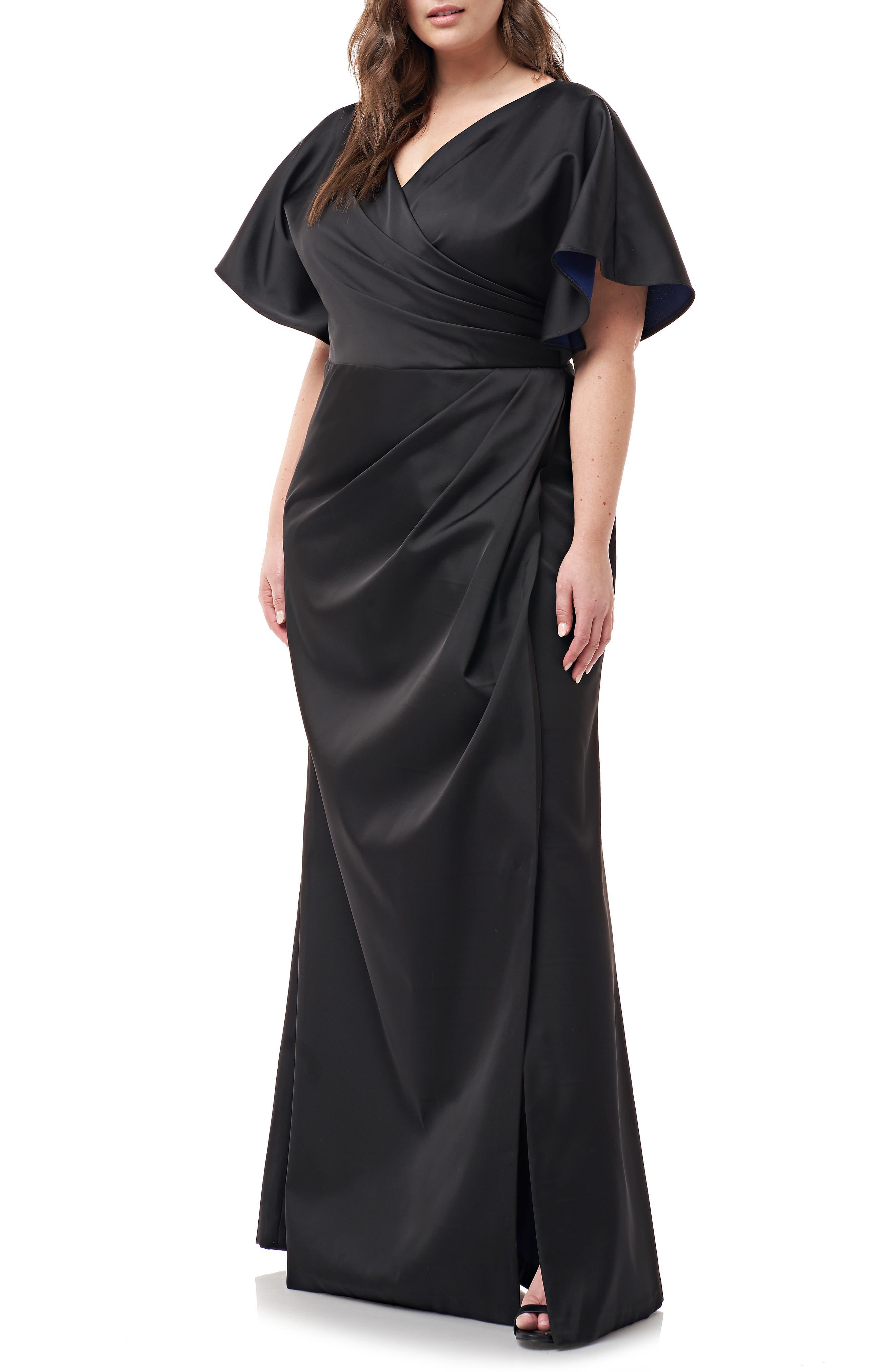 Faux Wrap Bonded Satin Gown,                             Alternate thumbnail 3, color,                             BLACK ROYAL