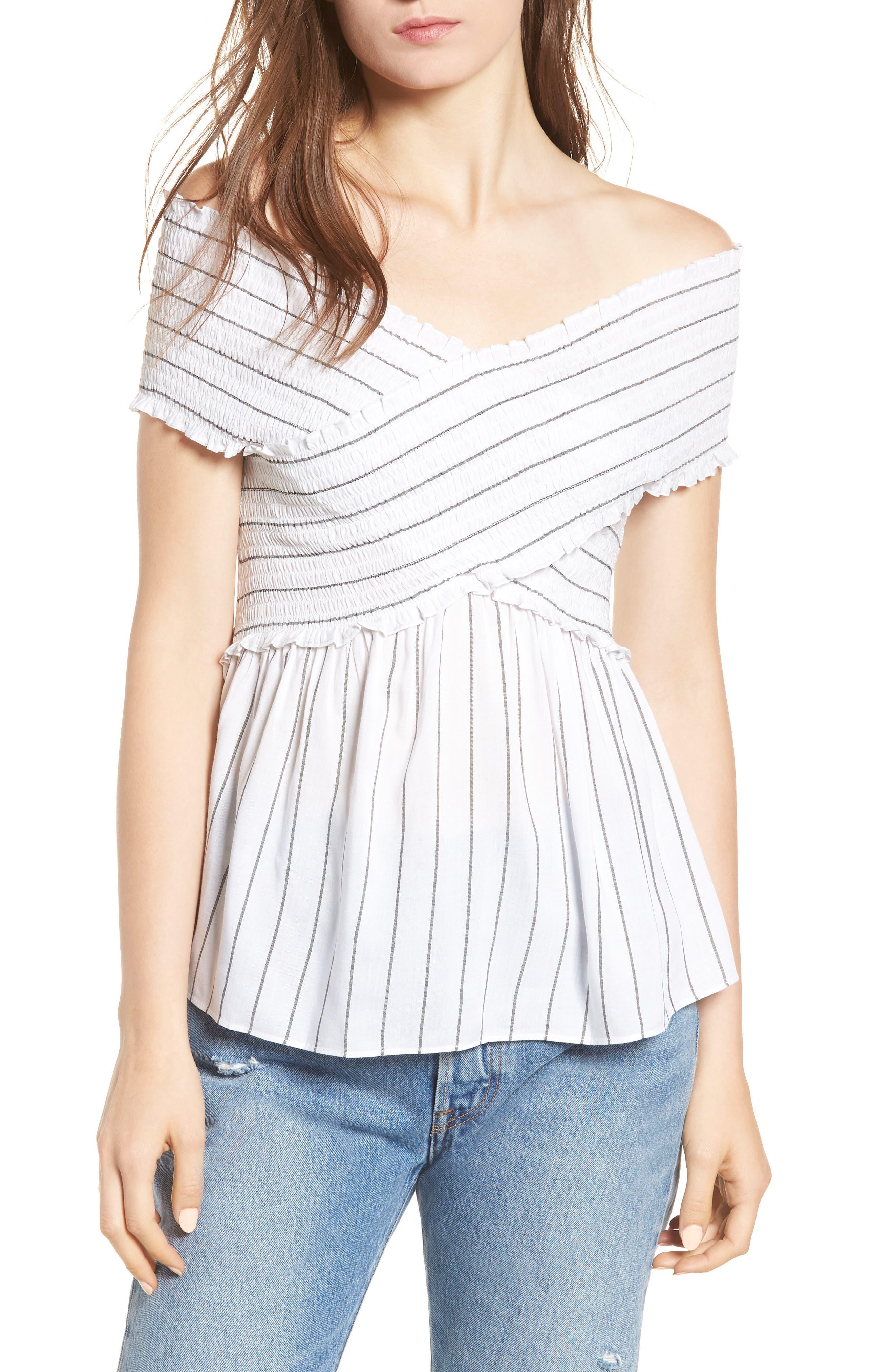 Stripe Off the Shoulder Top,                         Main,                         color, 100