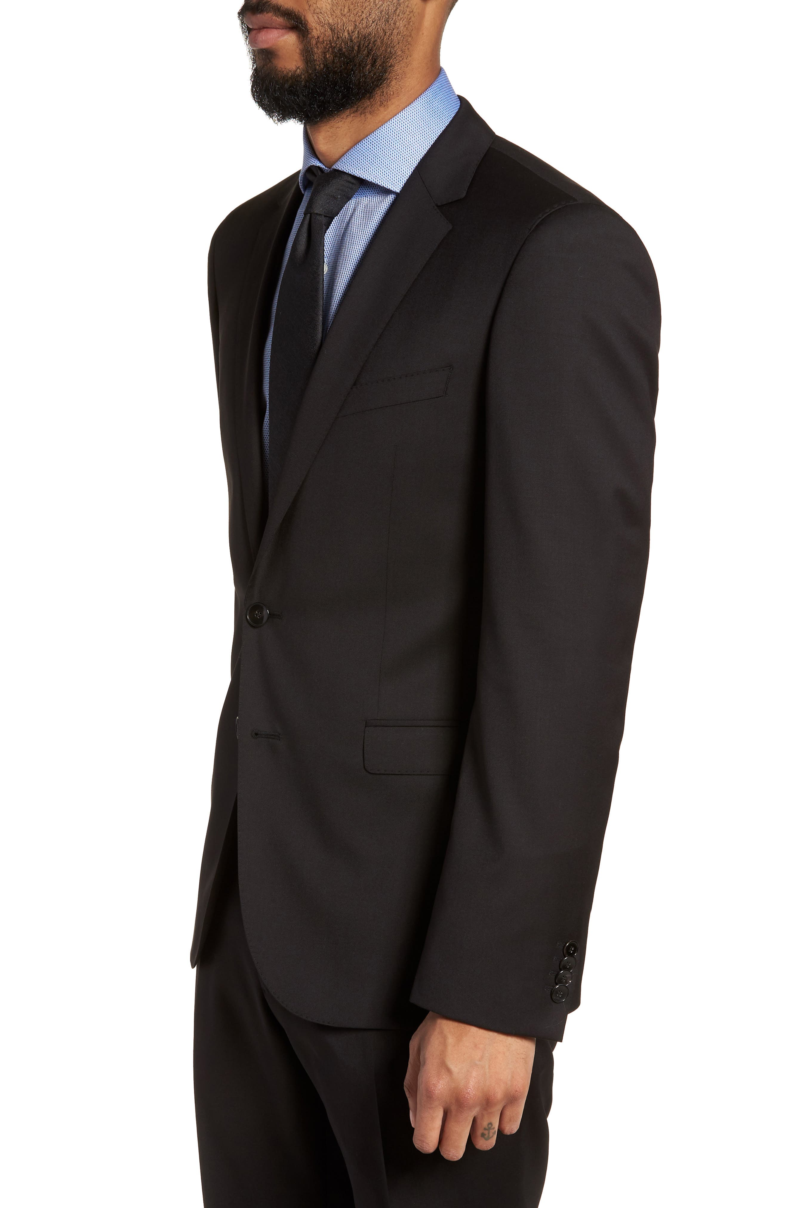 Ryan CYL Extra Trim Fit Solid Wool Blazer,                             Alternate thumbnail 3, color,                             BLACK