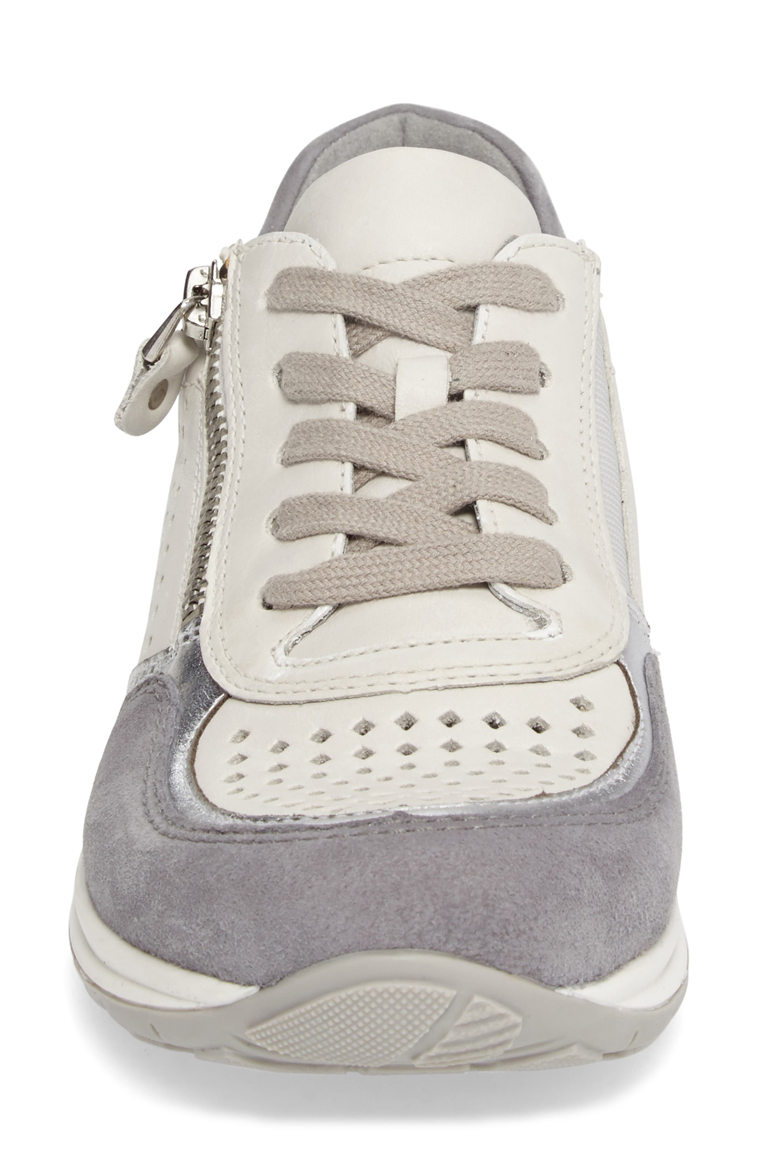 Olivia Perforated Sneaker,                             Alternate thumbnail 4, color,                             SILVER SUEDE