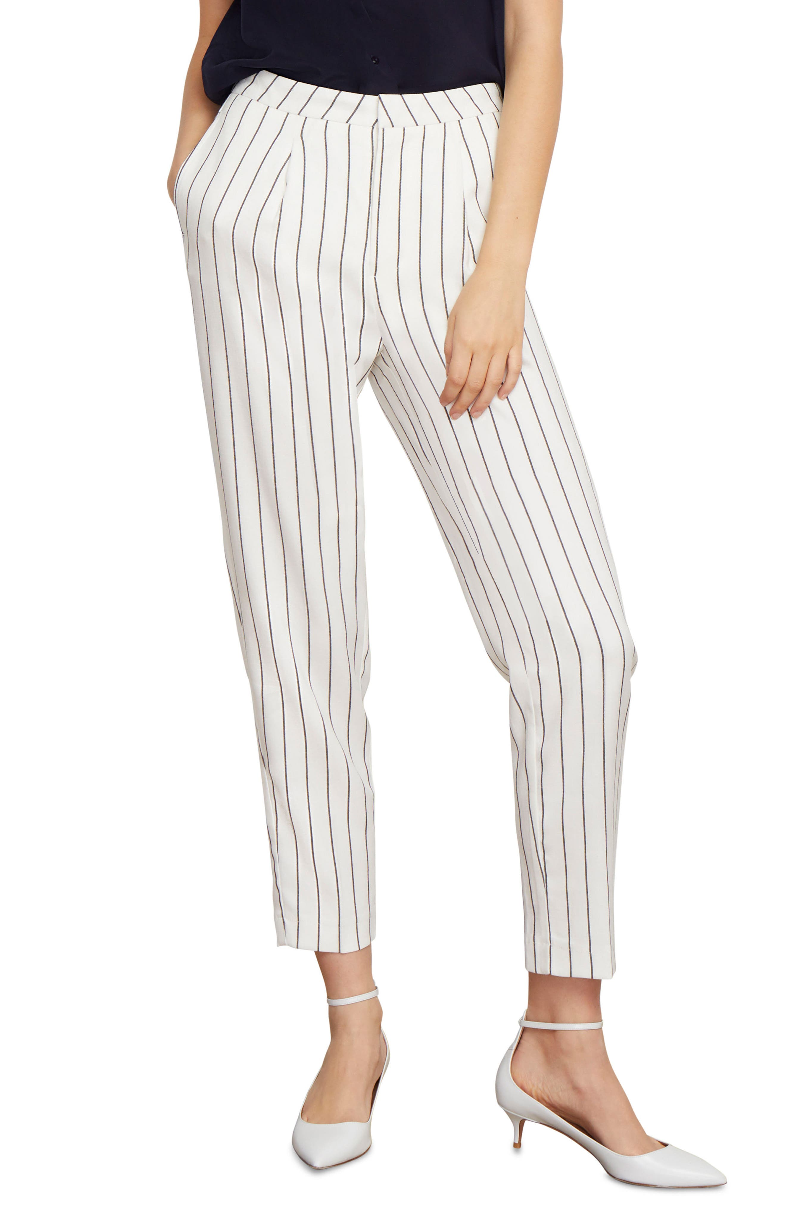 Abigail Pinstripe Ankle Trousers, Main, color, 001