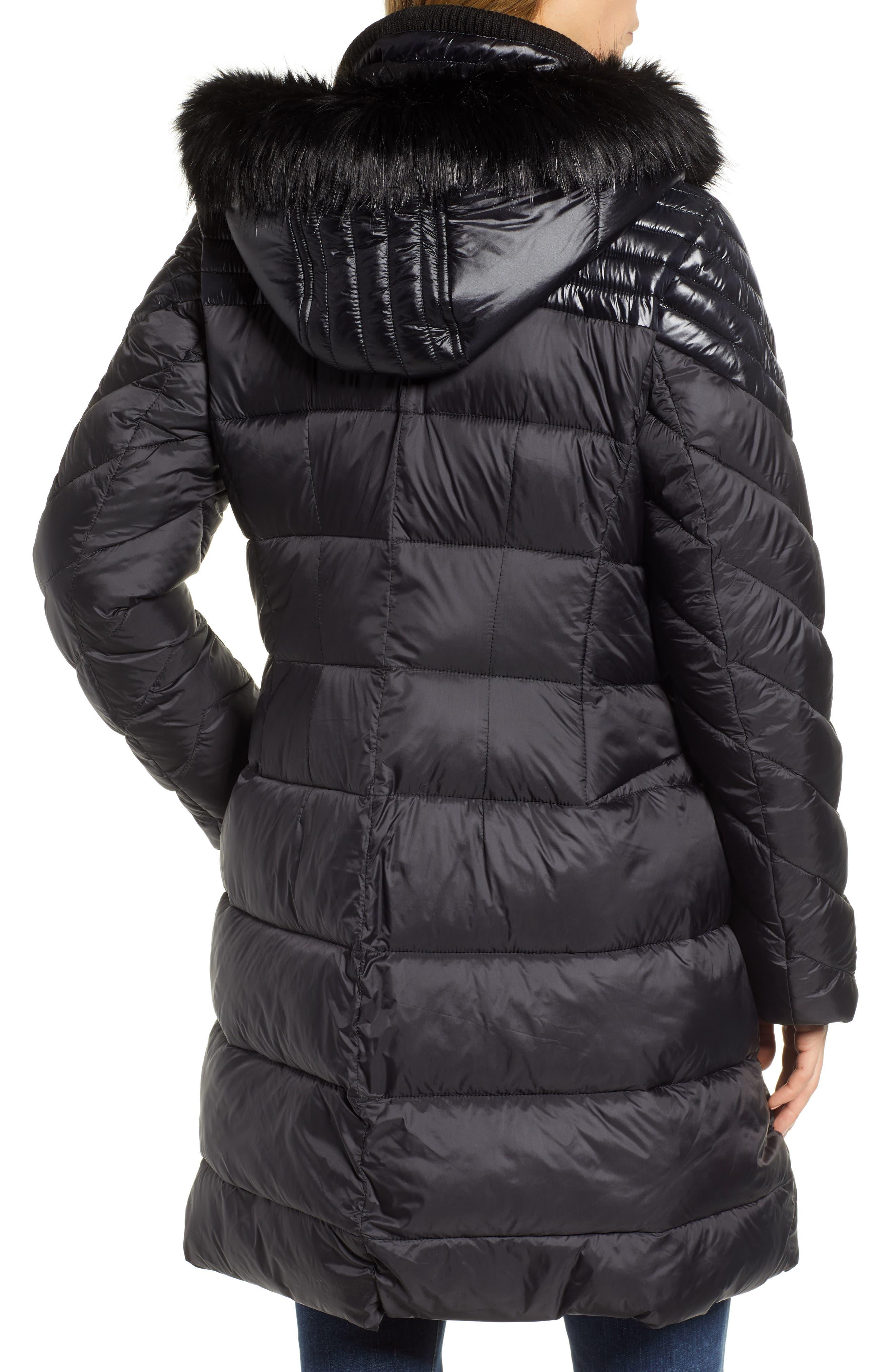 RACHEL RACHEL ROY,                             Faux Fur Detail Water Resistant Puffer Coat,                             Alternate thumbnail 2, color,                             BLACK