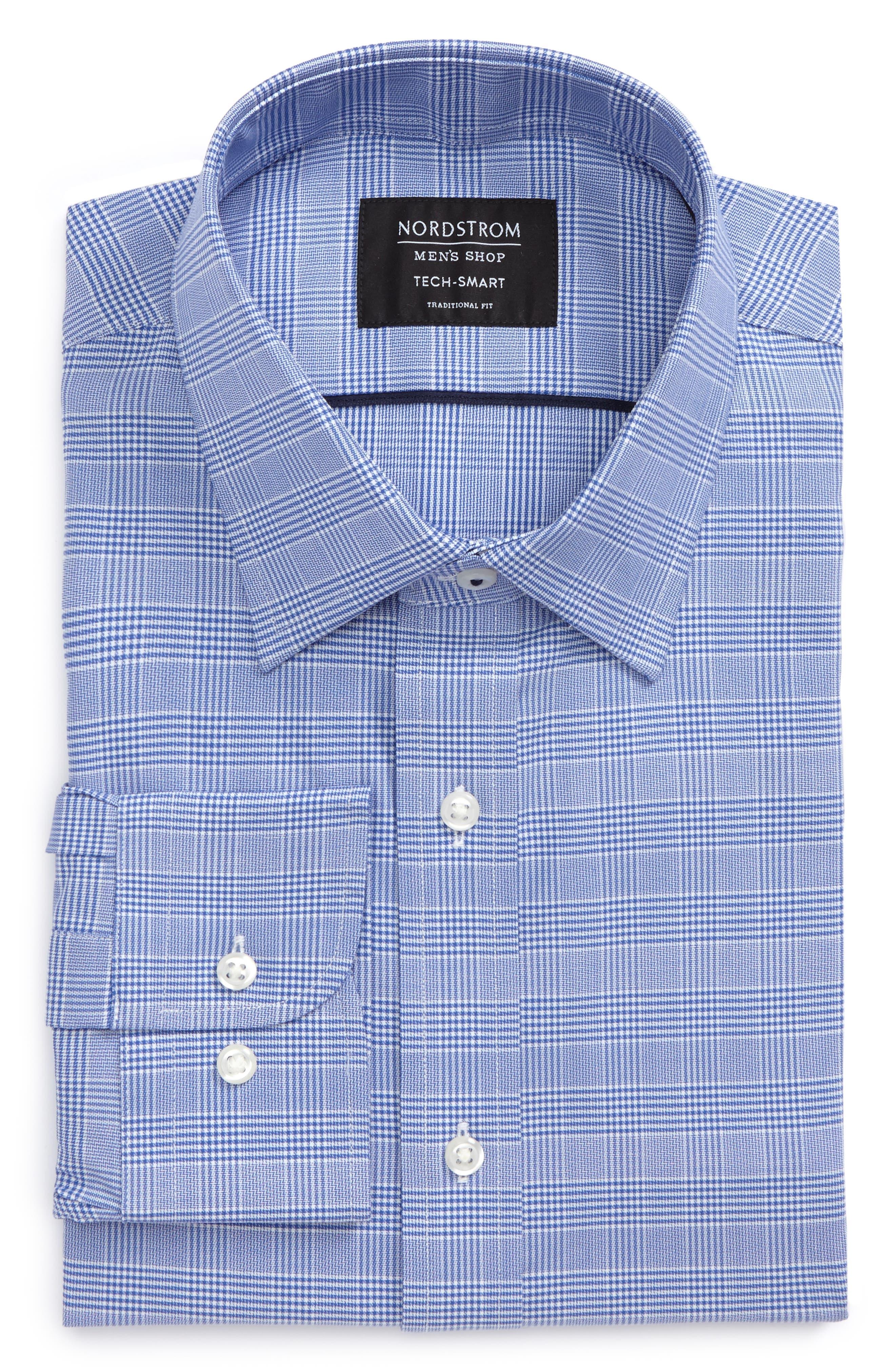 Tech-Smart Traditional Fit Stretch Plaid Dress Shirt,                             Alternate thumbnail 9, color,