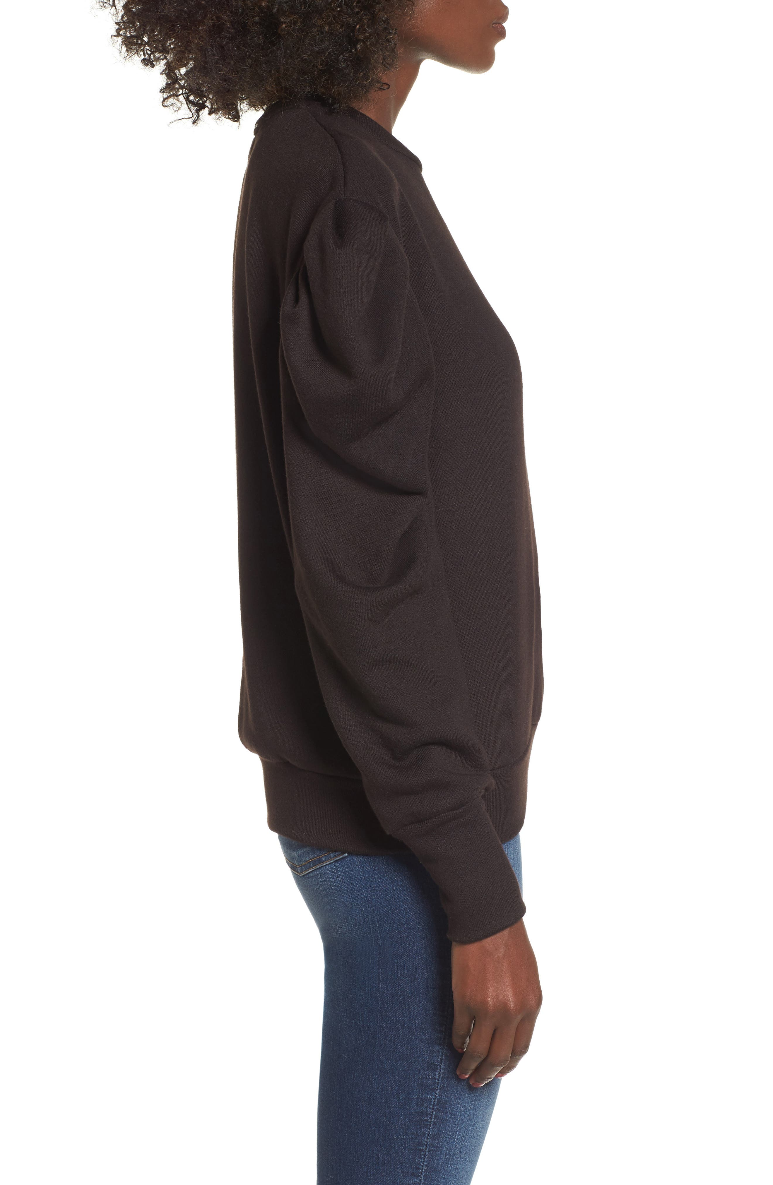 James Balloon Sleeve Sweatshirt,                             Alternate thumbnail 3, color,                             001